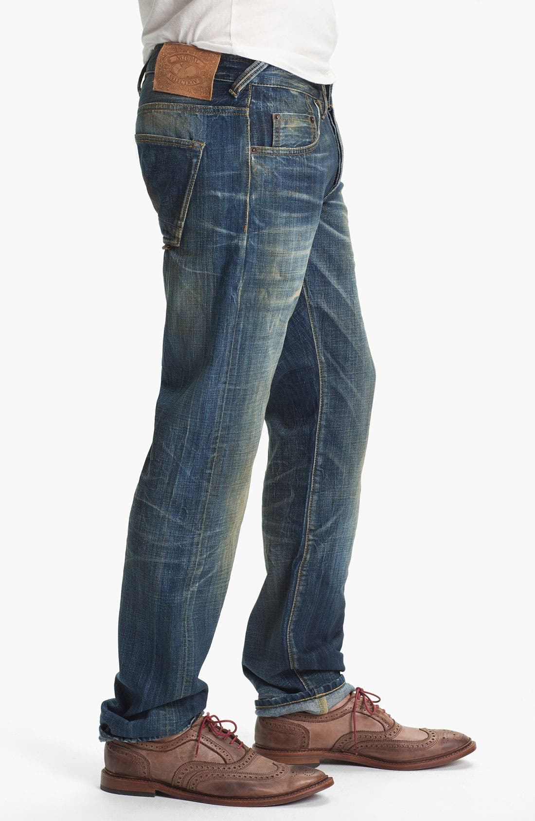 Alternate Image 3  - Natural Selection Denim 'Broken' Narrow Straight Leg Selvedge Jeans (Dune)