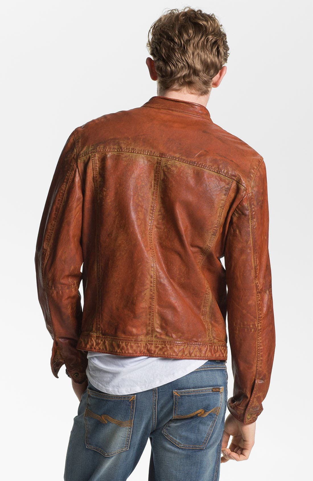 Alternate Image 2  - Scotch & Soda Weathered Leather Moto Jacket
