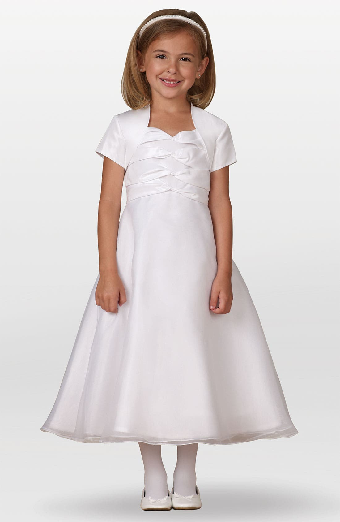 Main Image - Joan Calabrese for Mon Cheri Taffeta Dress & Bolero (Little Girls & Big Girls)