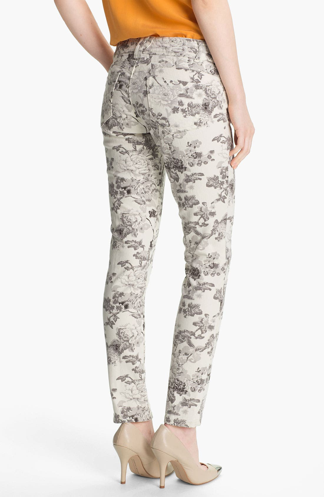 Alternate Image 2  - Wit & Wisdom Floral Print Skinny Jeans (Grey) (Nordstrom Exclusive)