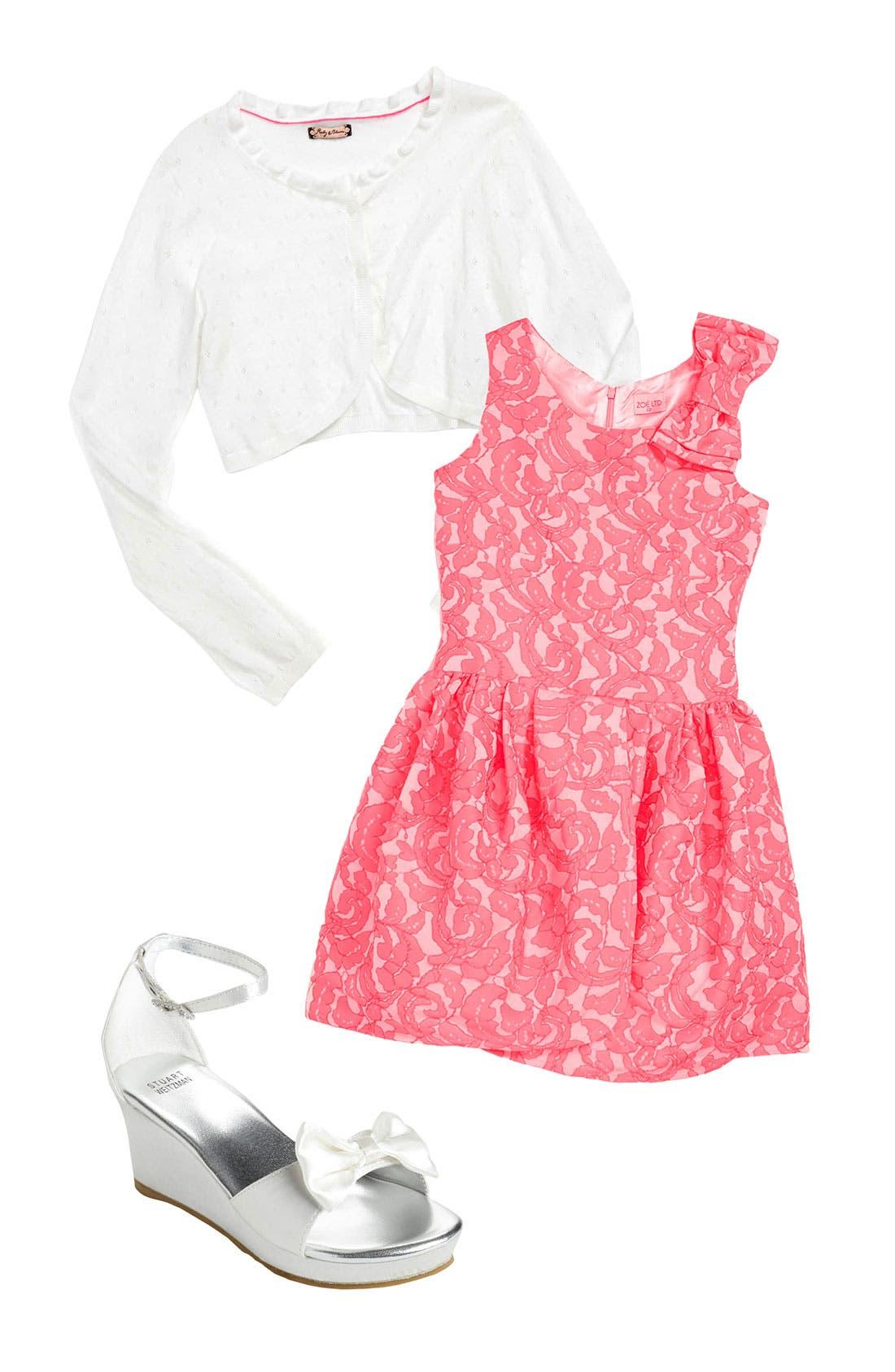 Alternate Image 1 Selected - Zoe Dress, Ruby & Bloom Bolero & Stuart Weitzman Sandal (Big Girls)