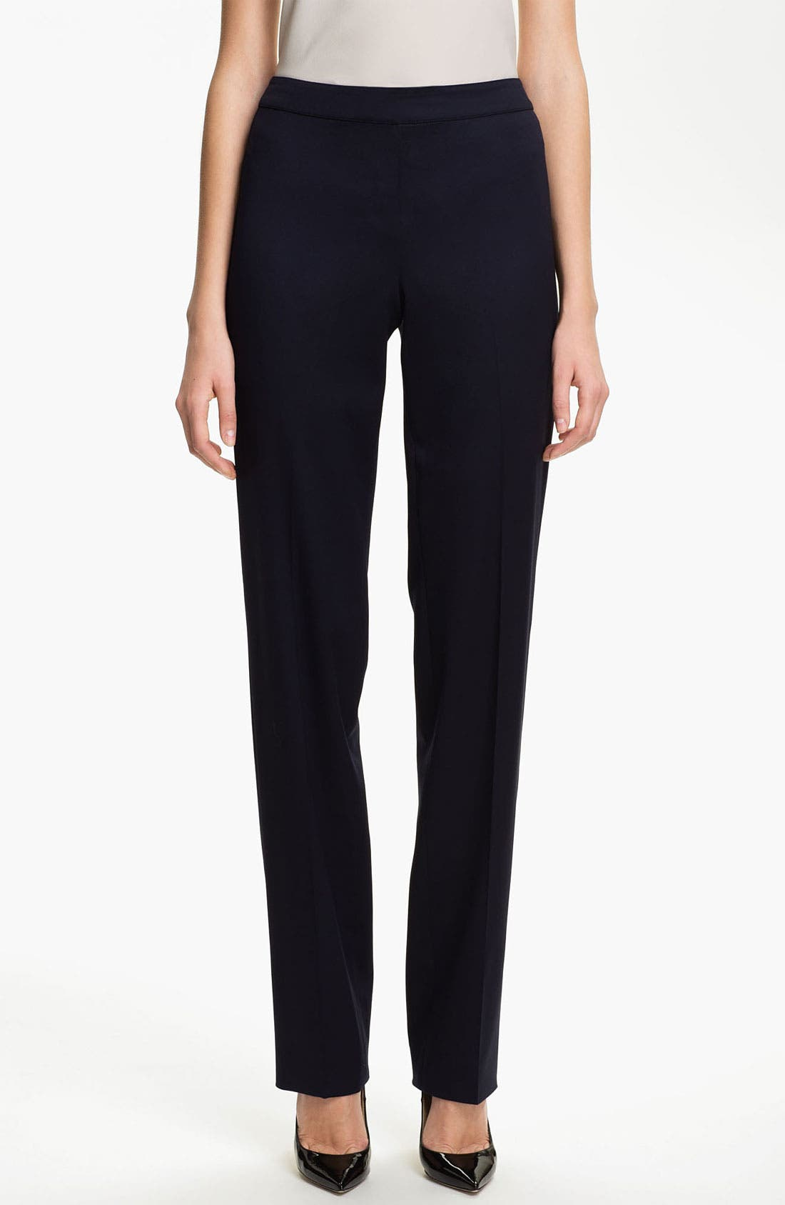 Main Image - St. John Collection 'Diana' Straight Leg Venetian Wool Pants