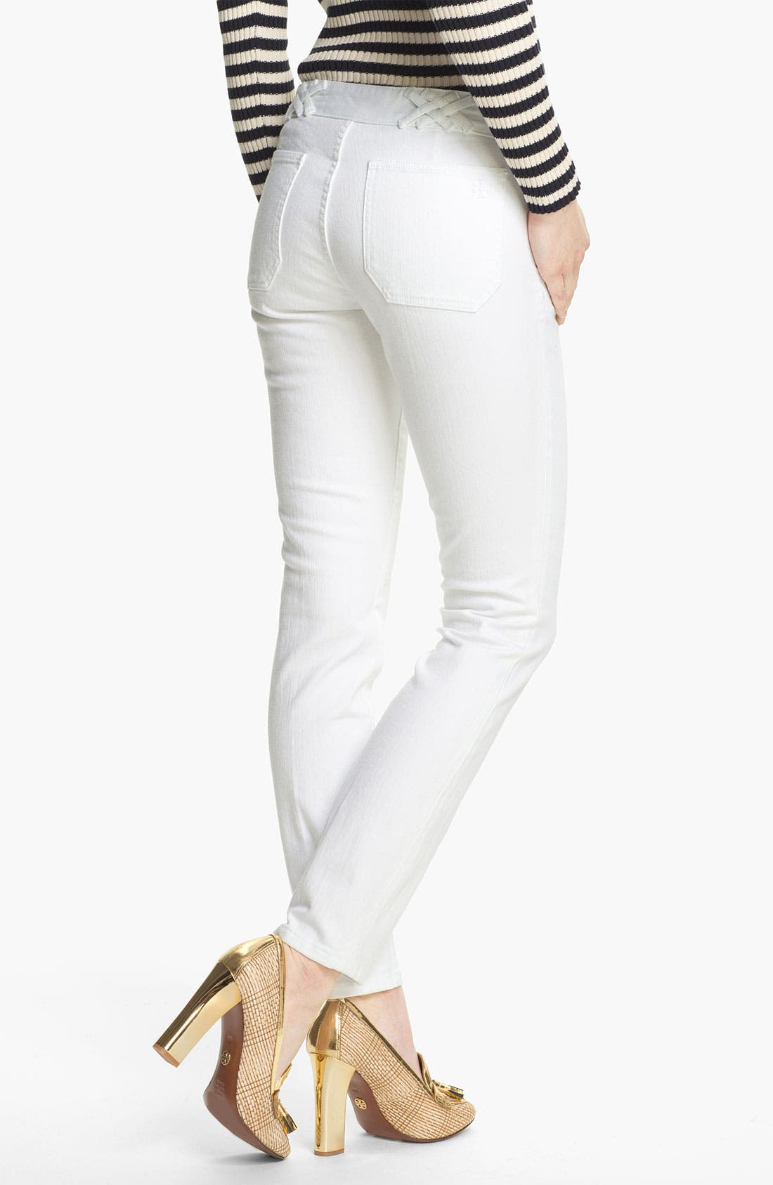 Alternate Image 2  - Tory Burch 'Izzy' Ankle Skinny Jeans (Super Stonewashed White)
