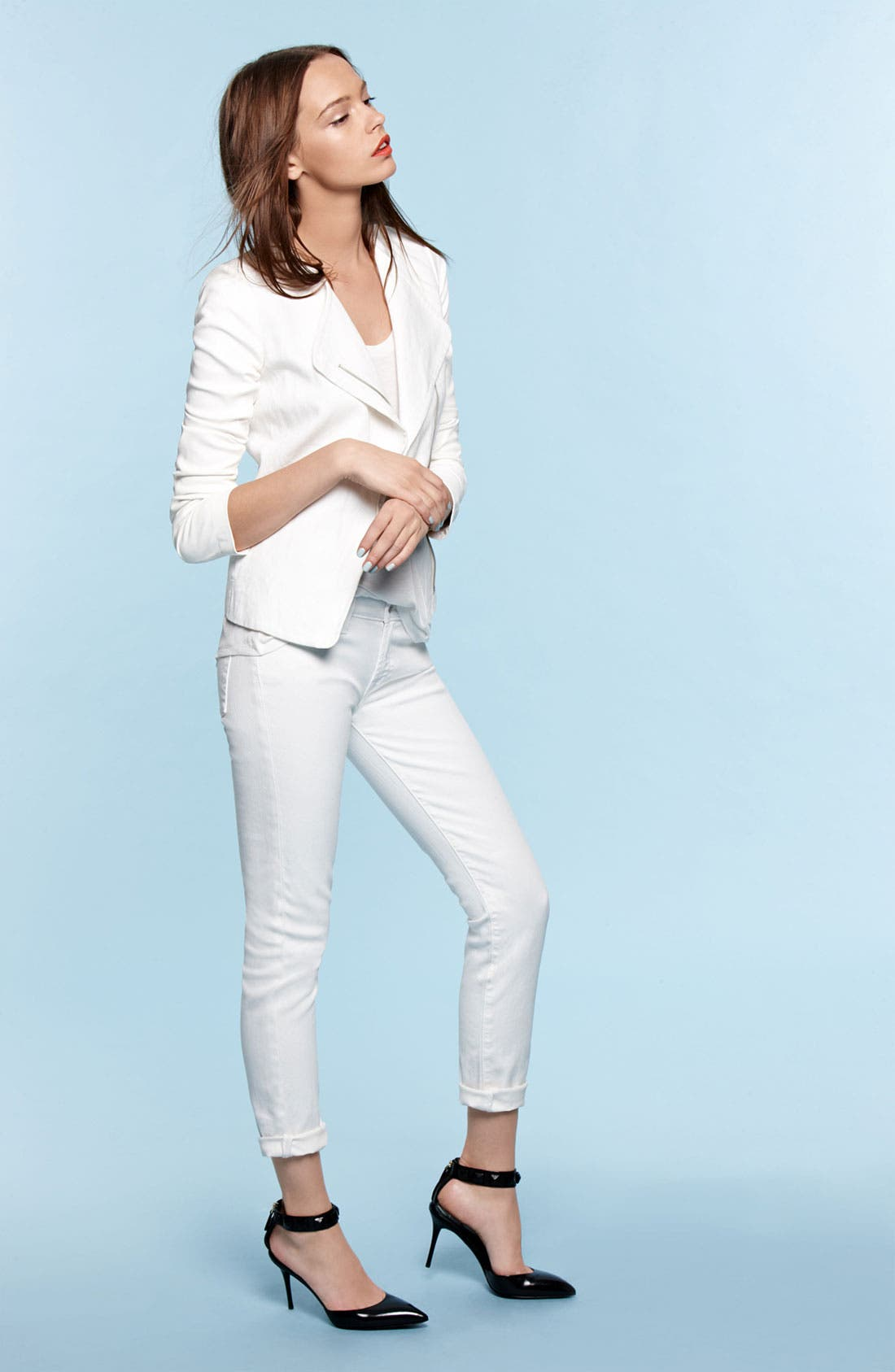 Alternate Image 4  - 7 For All Mankind® 'The Slim Cigarette' Stretch Jeans (Clean White)