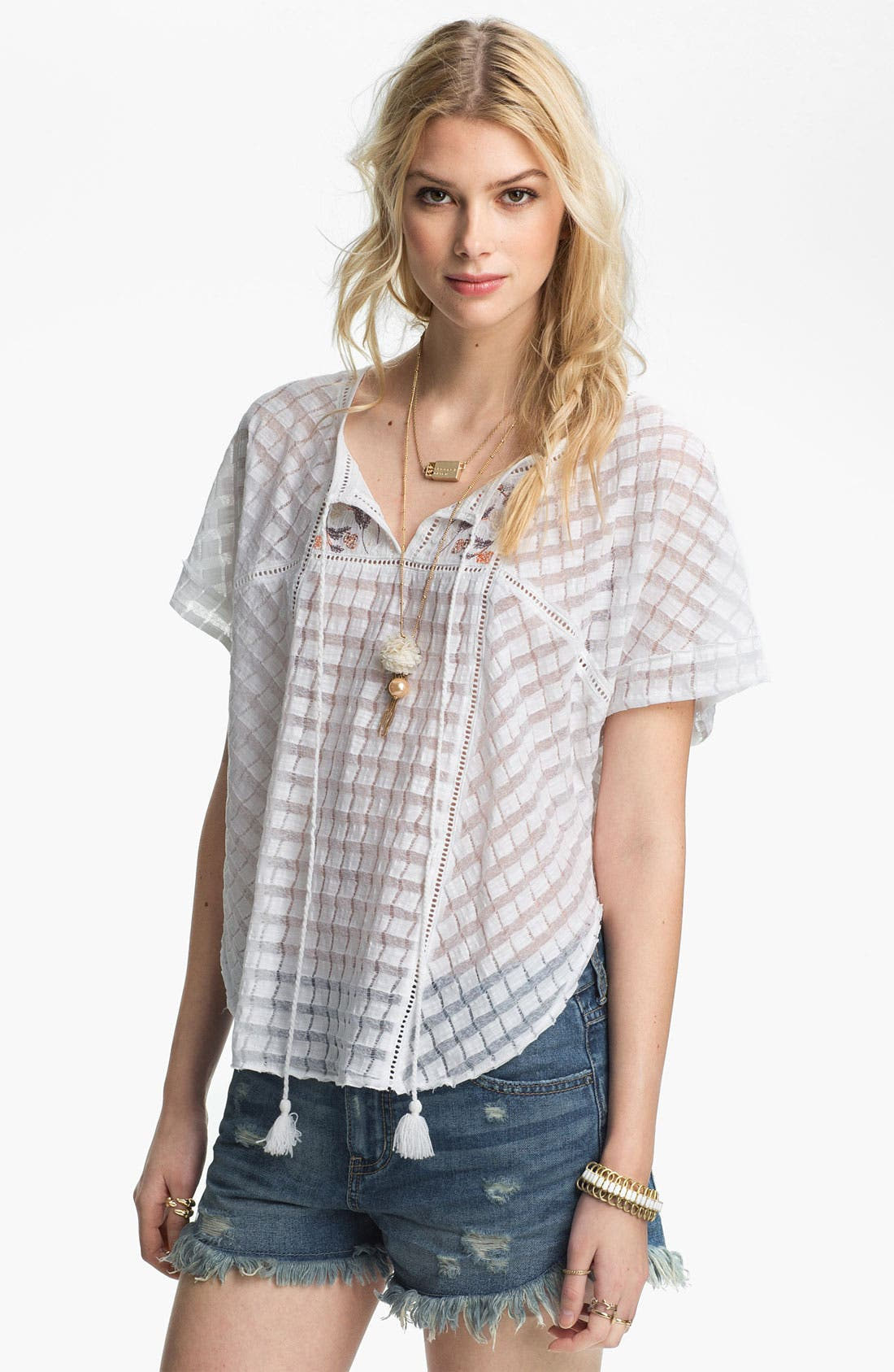 Main Image - Free People 'Willow' Basket Weave Peasant Top