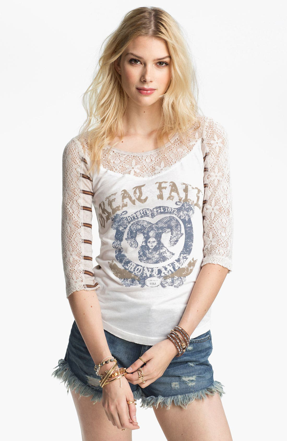 Main Image - Free People 'Love Me' Lace Trim Graphic Tee