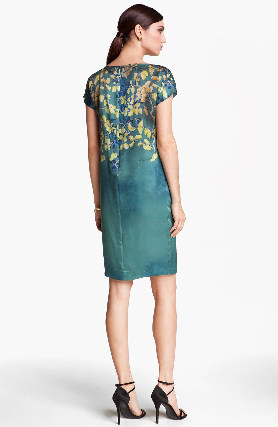 Alternate Image 2  - St. John Collection Floral Print Silk Charmeuse Dress