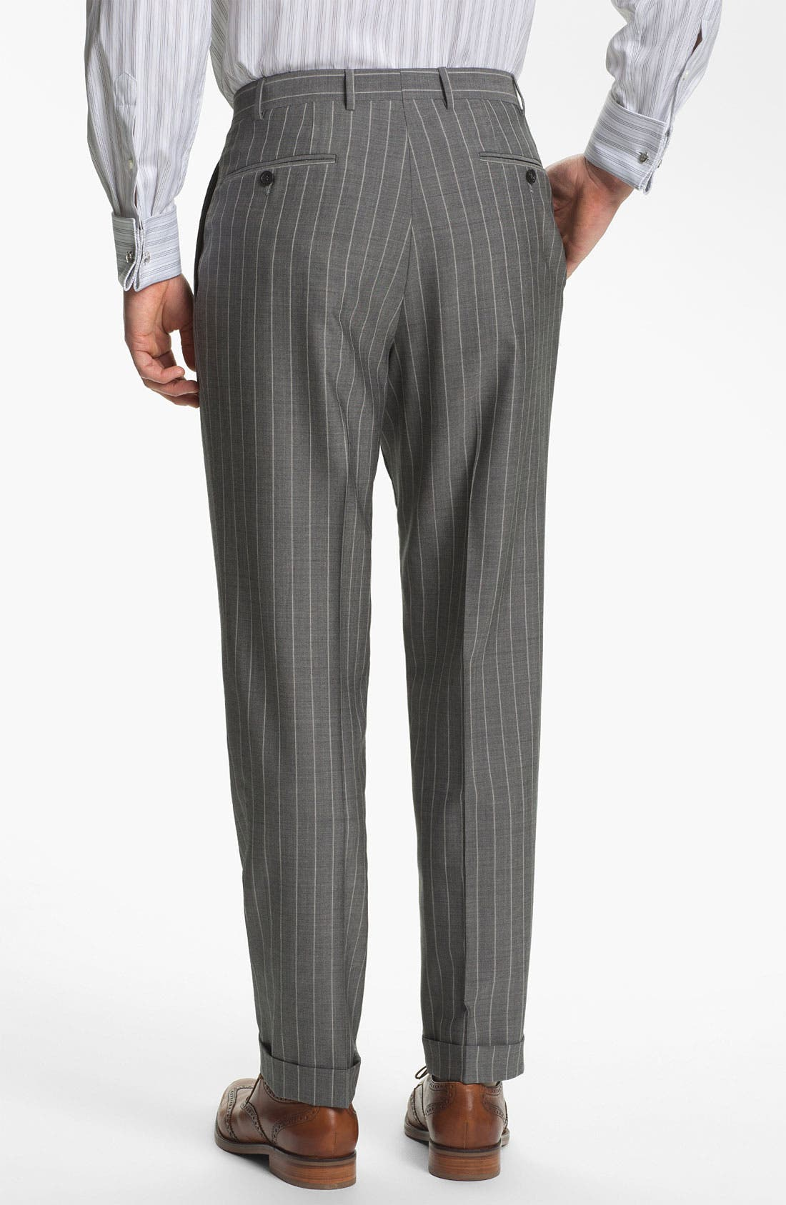 Alternate Image 5  - Canali Double Breasted Stripe Suit