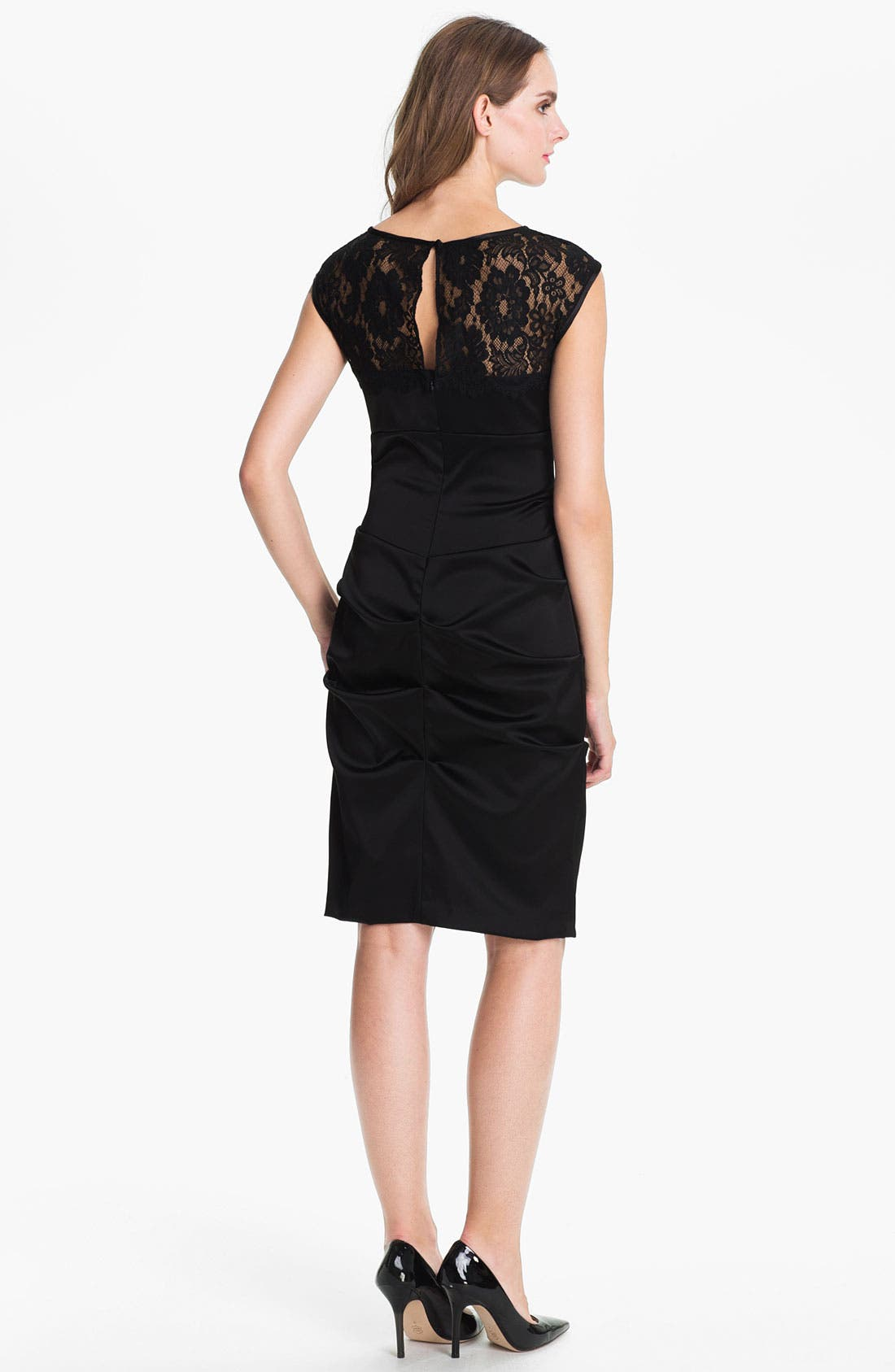 Alternate Image 2  - Xscape Lace Yoke Satin Sheath Dress
