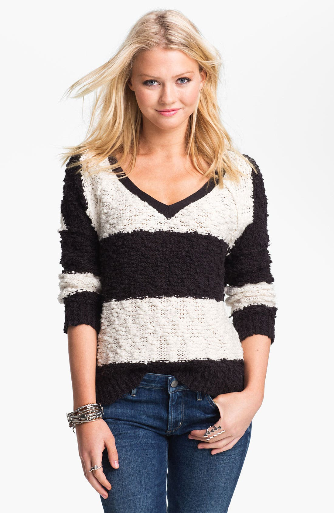 Alternate Image 1 Selected - Free People 'Songbird' Rugby Stripe Bouclé Sweater