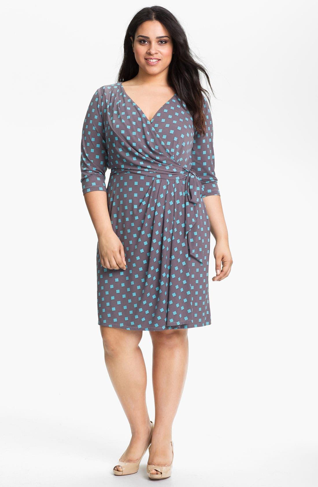 Main Image - Suzi Chin for Maggy Boutique Print Wrap Dress (Plus Size)
