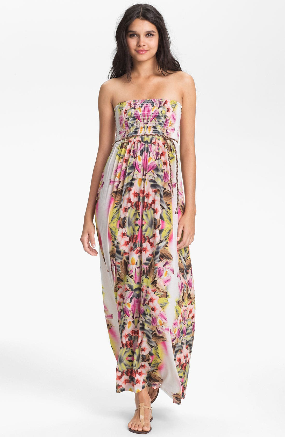 Main Image - Lily Aldridge for Velvet by Graham & Spencer Floral Print Strapless Maxi Dress