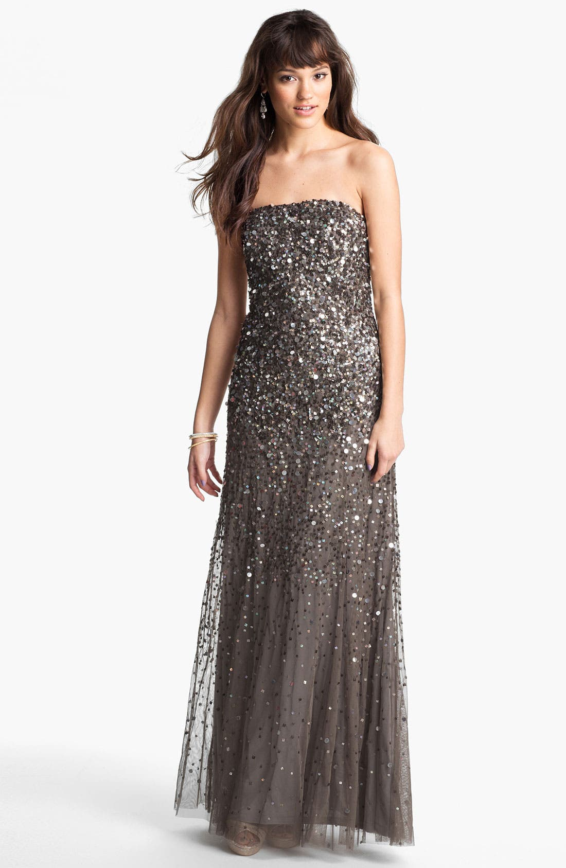 Alternate Image 1 Selected - Adrianna Papell Sequined Strapless Mesh Gown