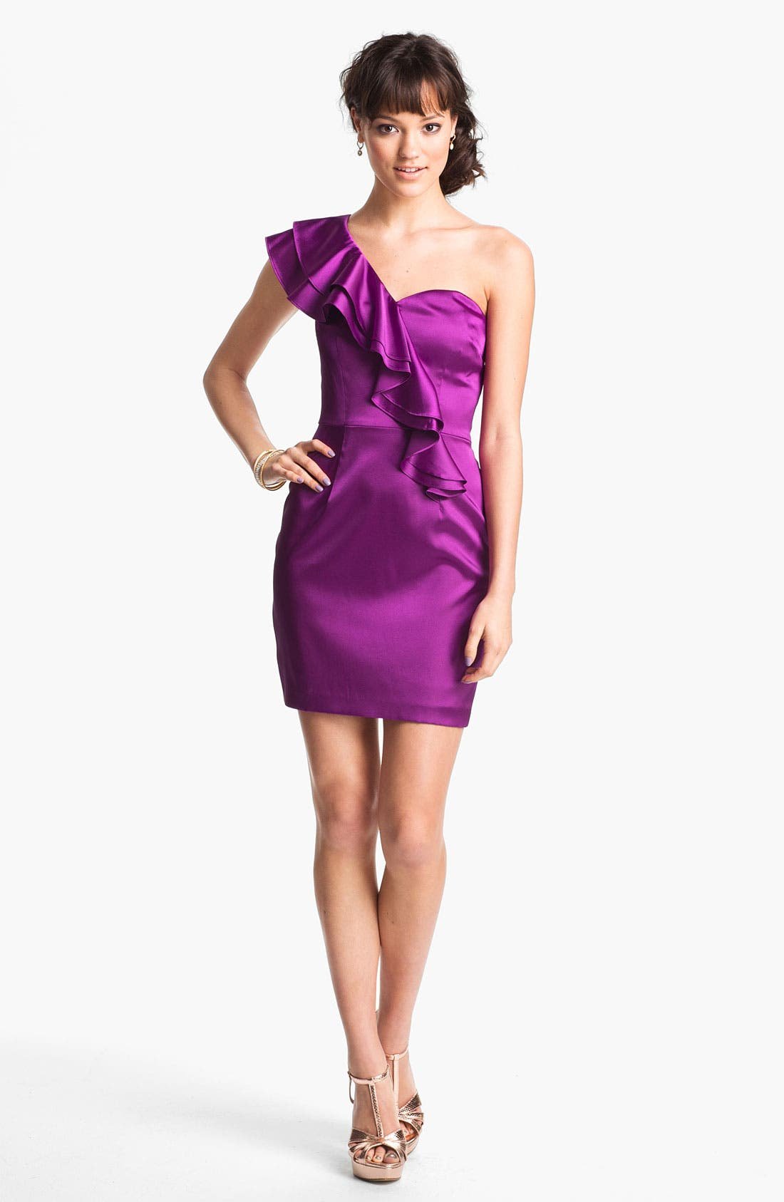 Alternate Image 1 Selected - Hailey Logan One Shoulder Ruffle Satin Dress (Juniors) (Online Only)