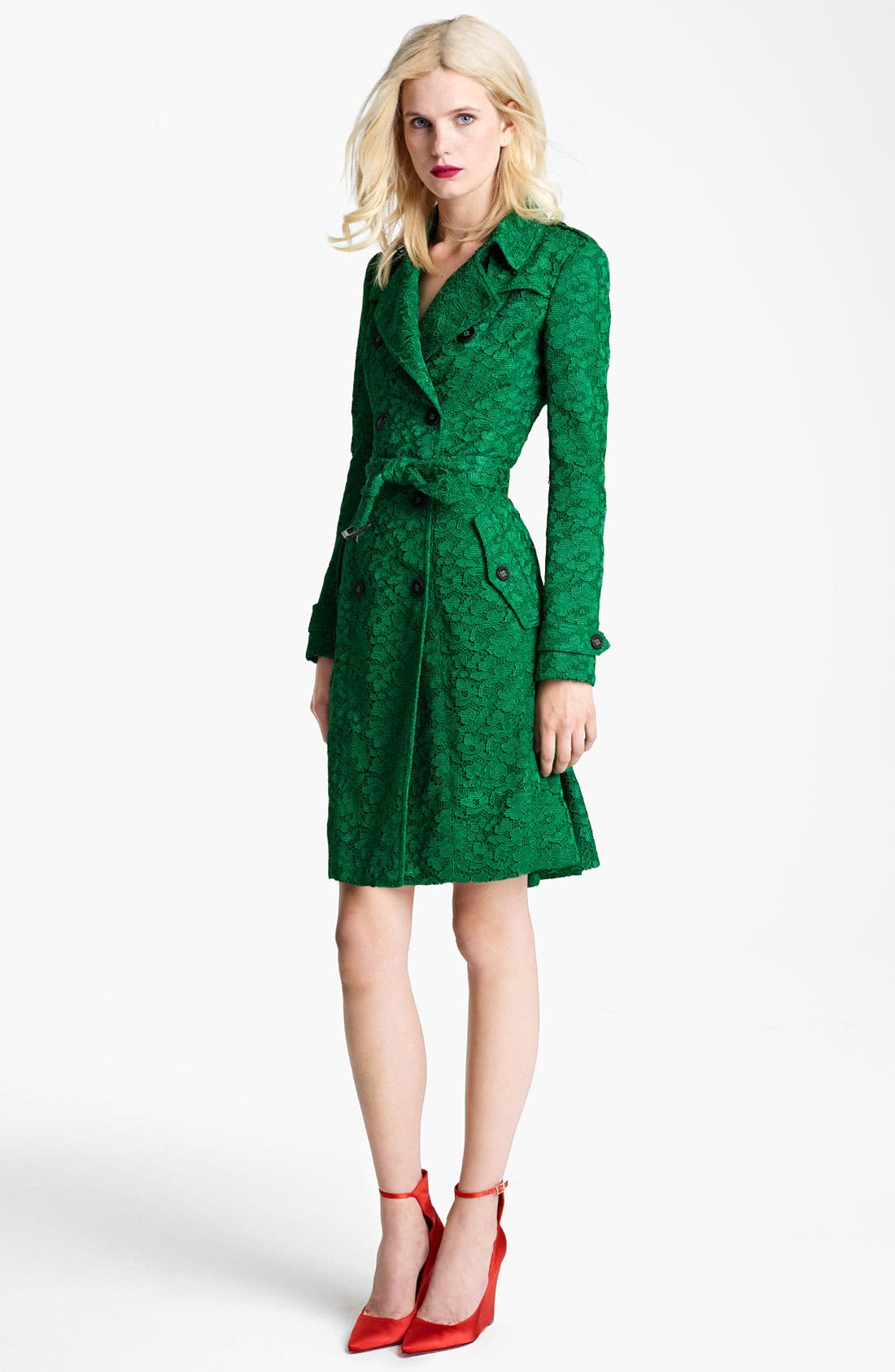 Main Image - Burberry Prorsum Belted Lace Trench Coat