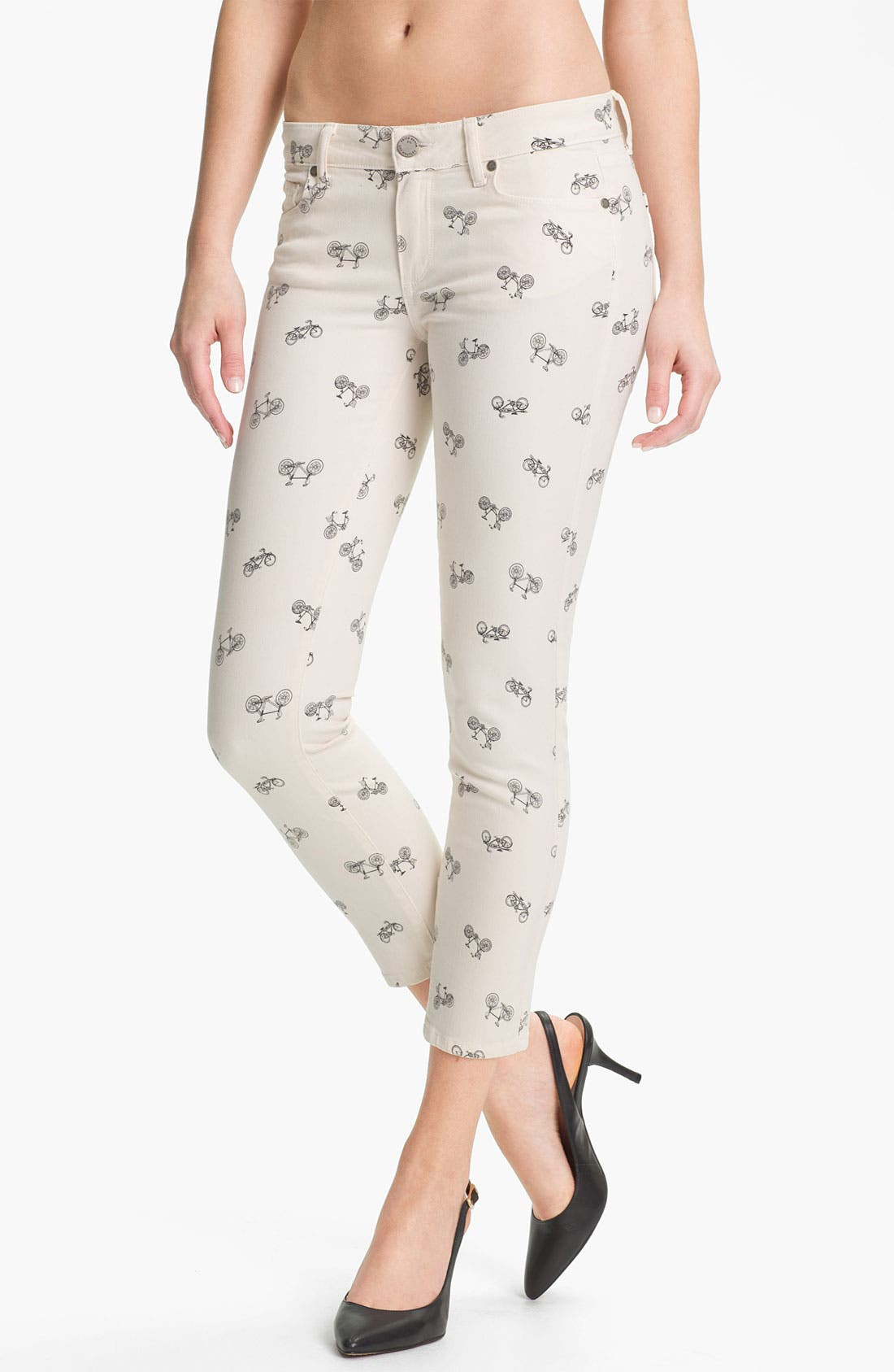 Main Image - Paige Denim 'Kylie' Print Crop Skinny Leg Jeans (Cream Retro Cruiser)