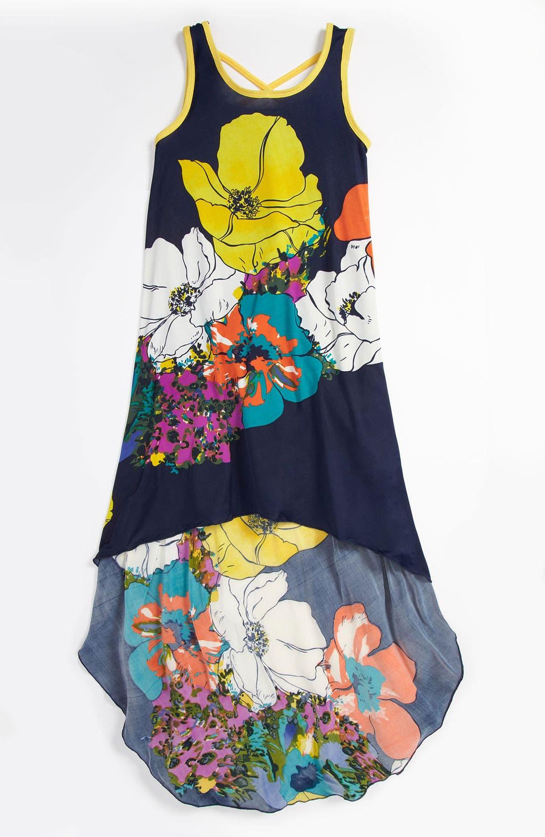 Main Image - Truly Me Floral Dress (Big Girls)