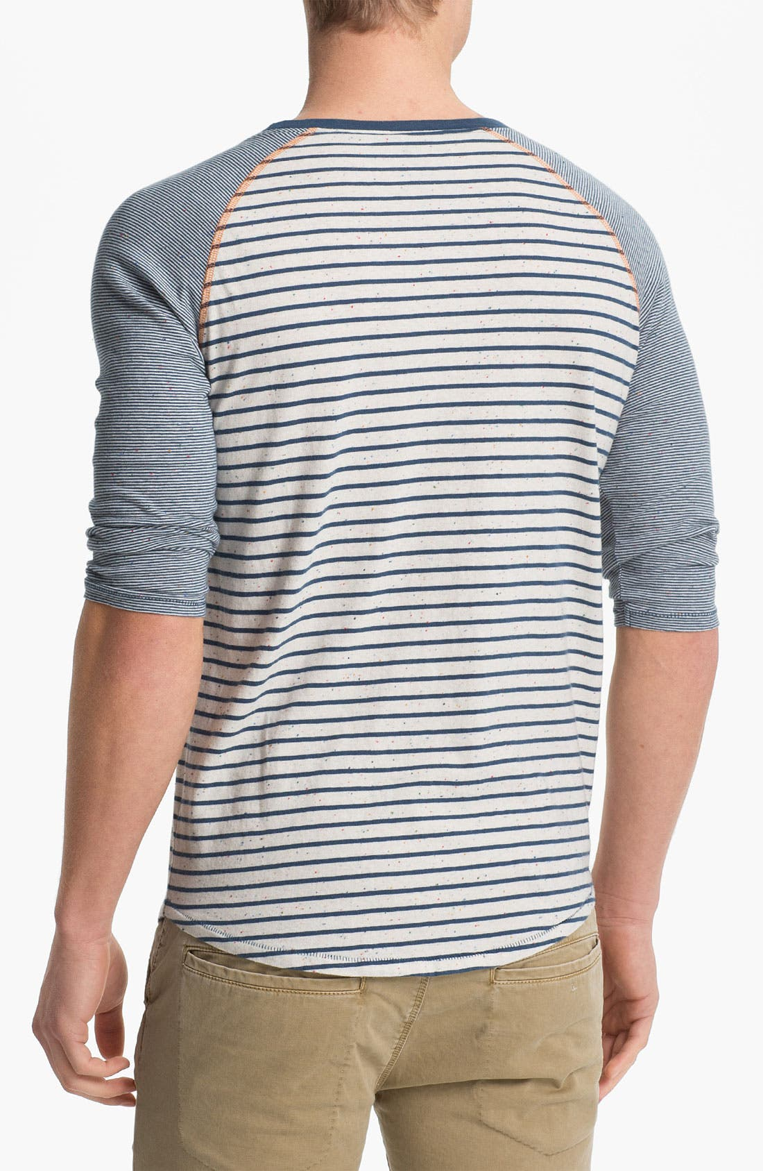 Alternate Image 2  - Nudie Mixed Stripe Cropped Sleeve T-Shirt