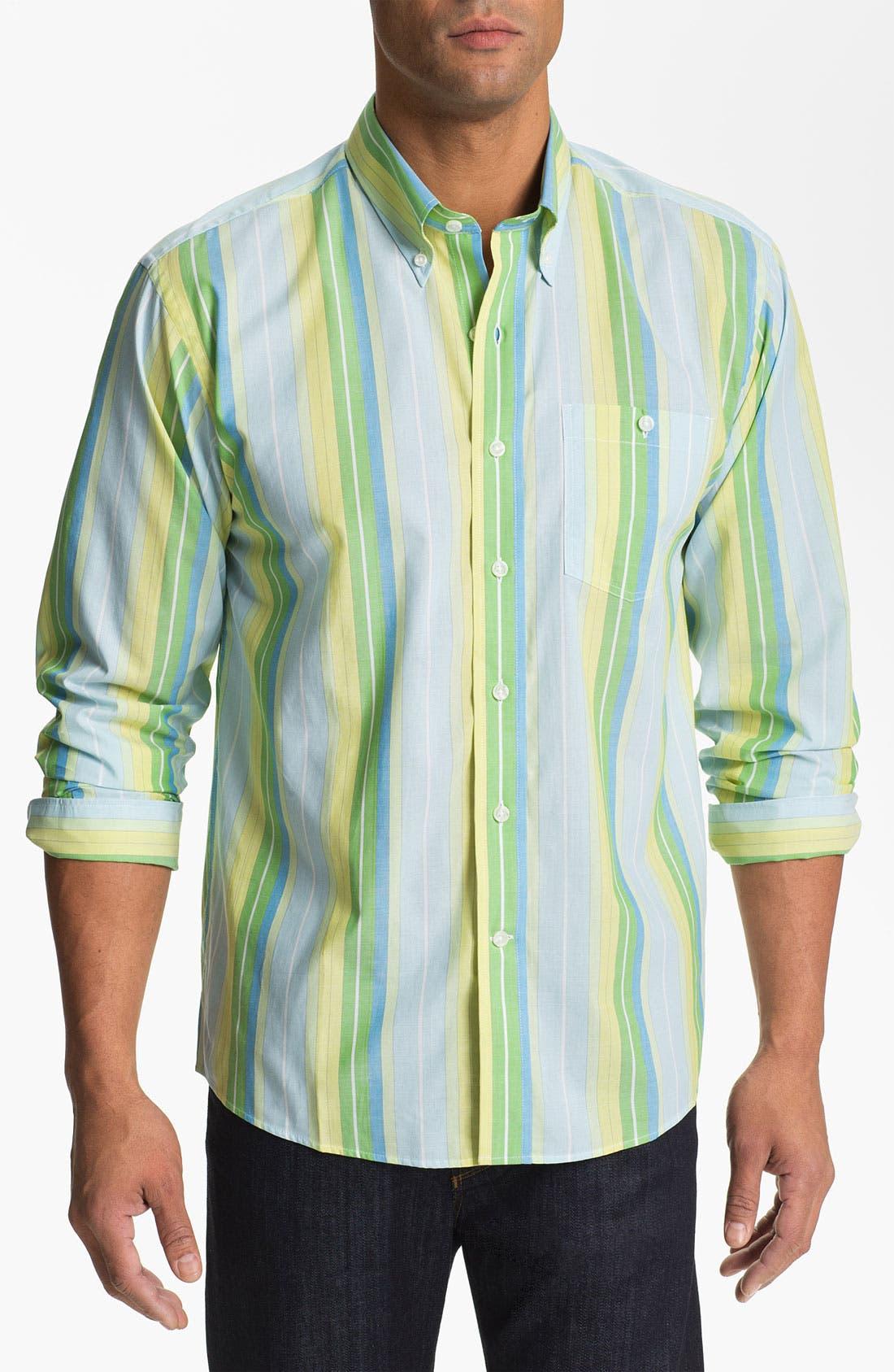 Main Image - Cutter & Buck 'Fisk Stripe' Regular Fit Cotton & Silk Sport Shirt (Big & Tall) (Online Only)