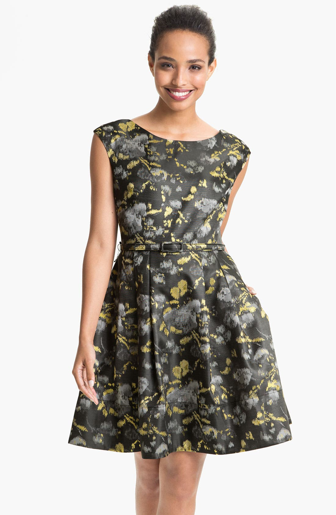 Main Image - Eliza J Cap Sleeve Jacquard Fit & Flare Dress (Petite)