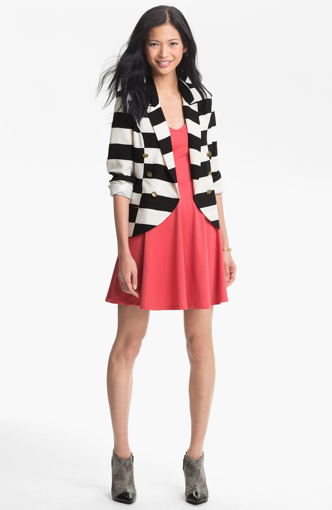 Alternate Image 3  - B.C.N.U. Stripe Double Breasted Blazer (Juniors)