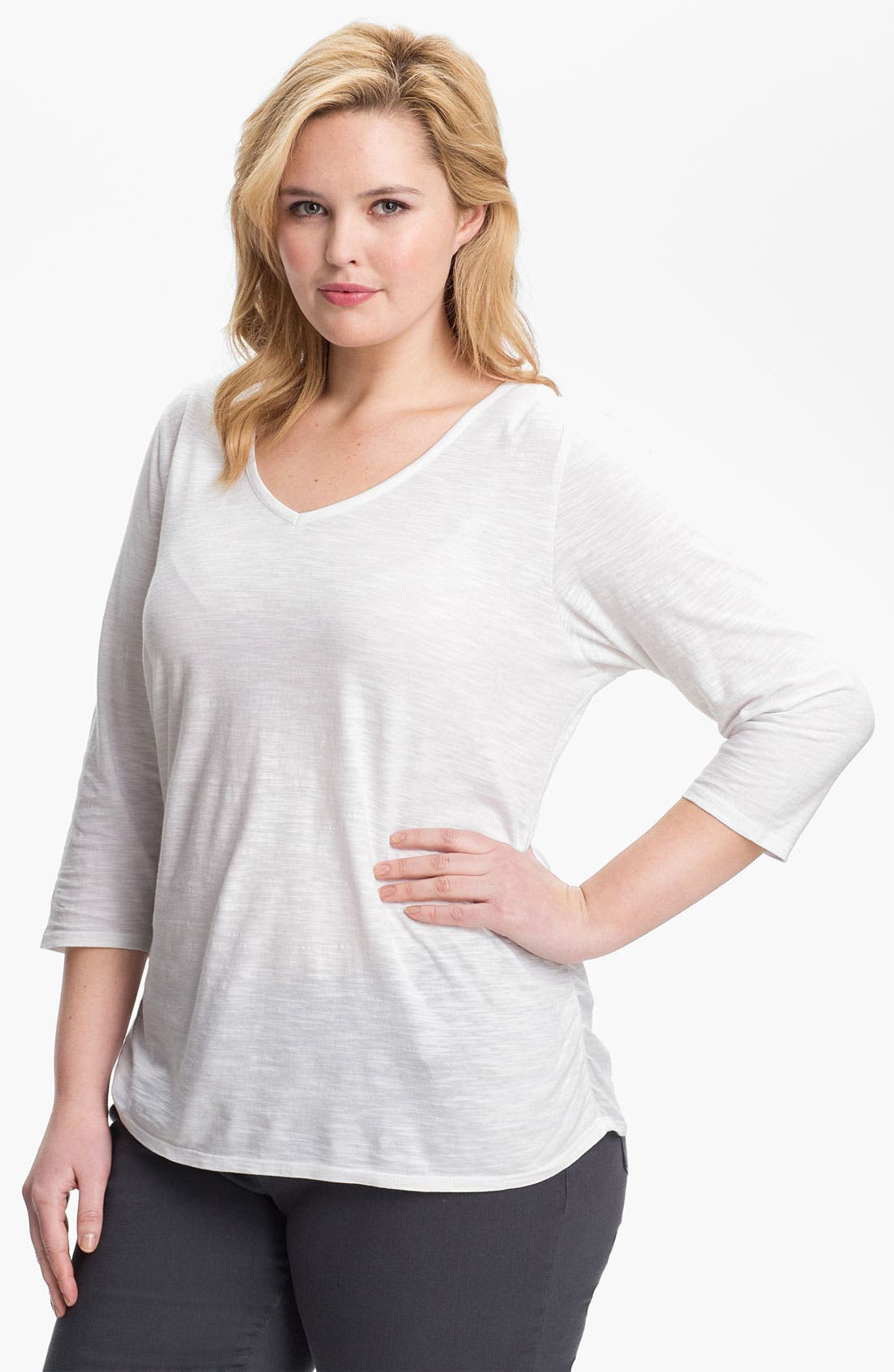 Main Image - Sejour Ruched Cotton Tee (Plus Size)