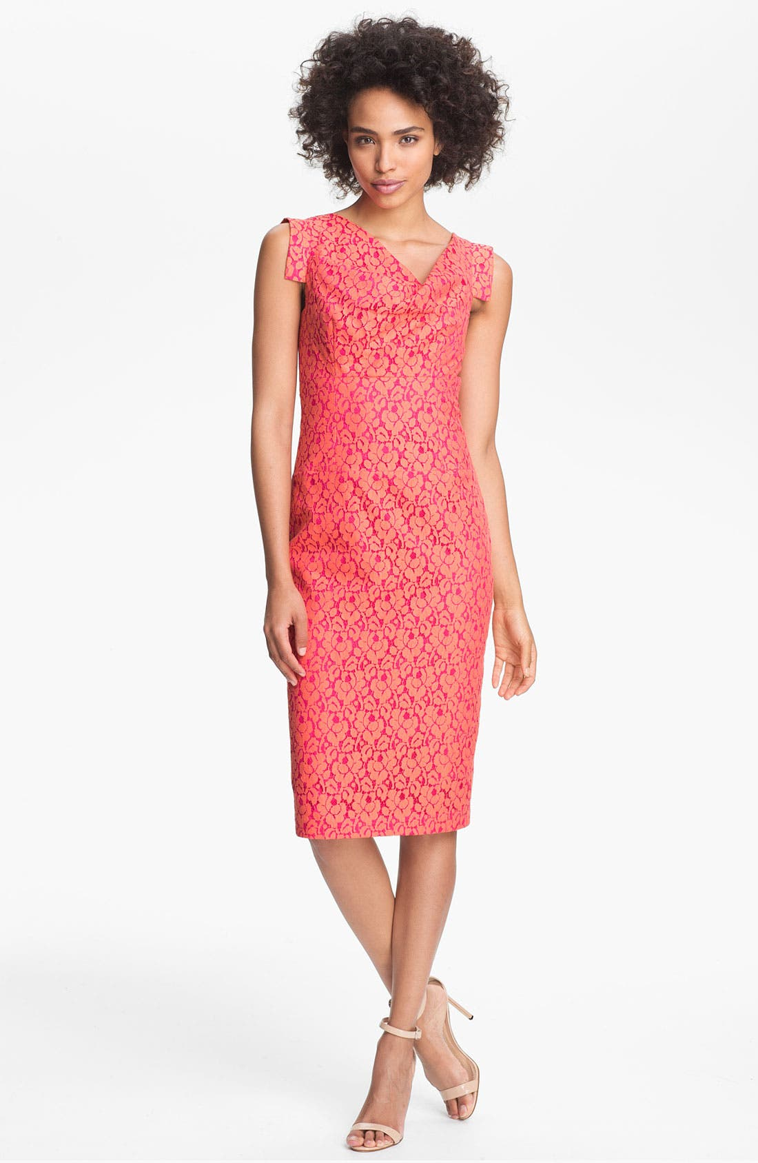 Main Image - Black Halo 'Jackie O' Tab Sleeve Lace Sheath Dress