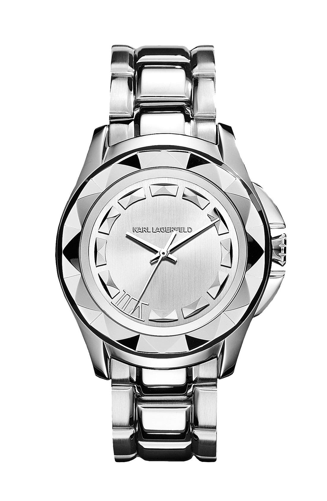 Main Image - KARL LAGERFELD '7' Faceted Bezel Bracelet Watch, 36mm