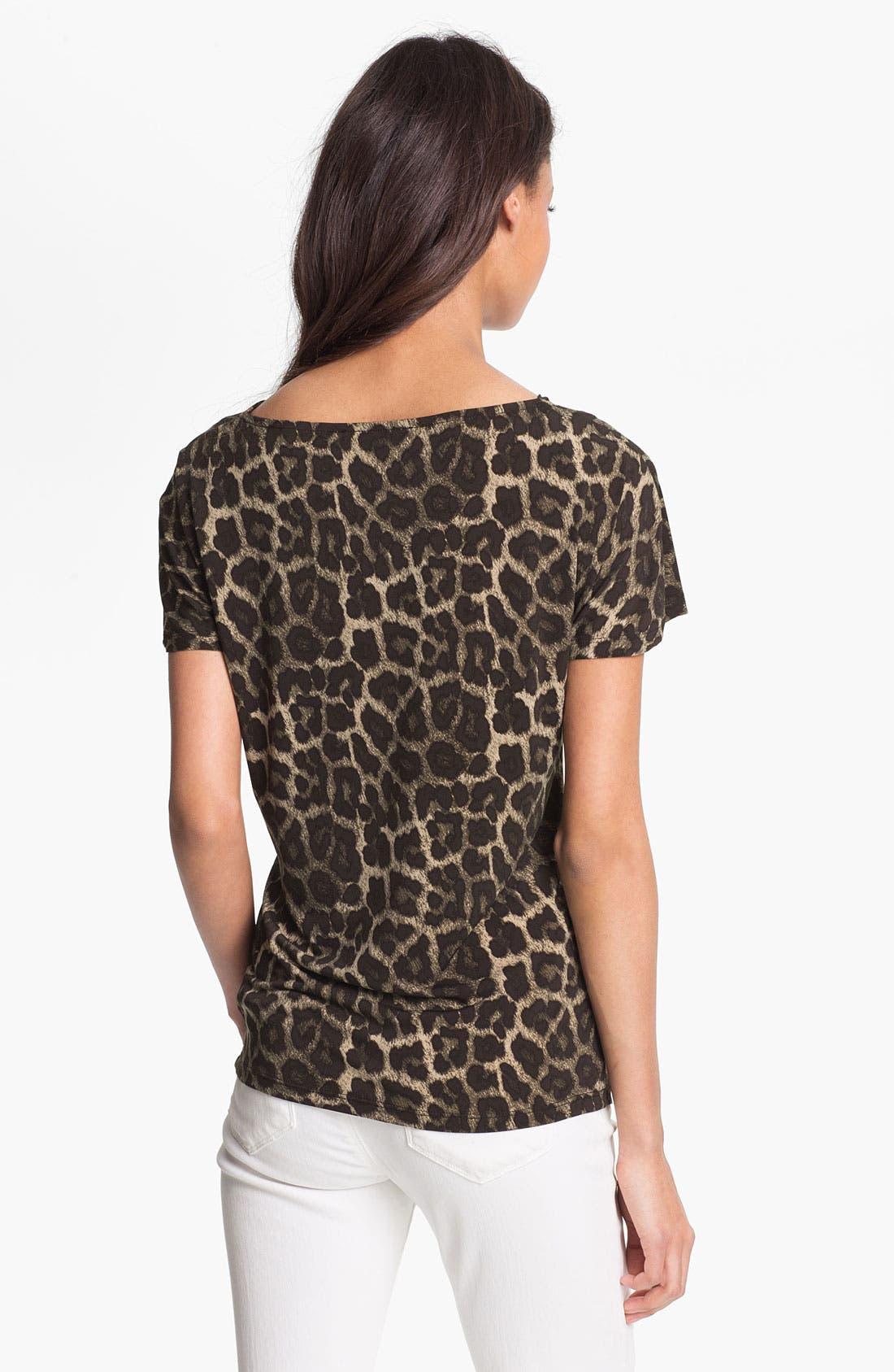 Alternate Image 2  - MICHAEL Michael Kors 'Savannah' Leopard Print Top (Petite)