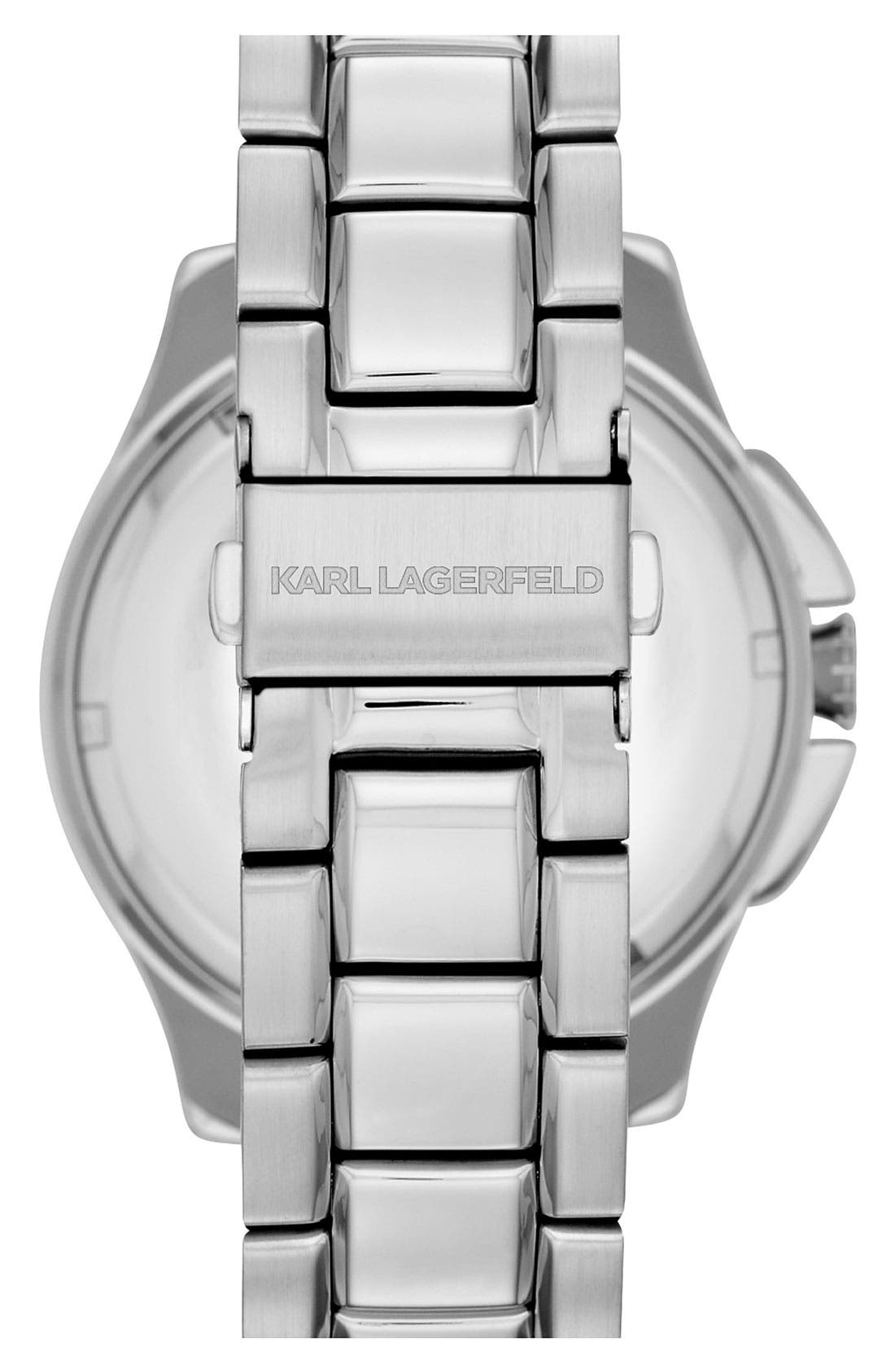 Alternate Image 2  - KARL LAGERFELD '7' Faceted Bezel Bracelet Watch, 44mm x 53mm