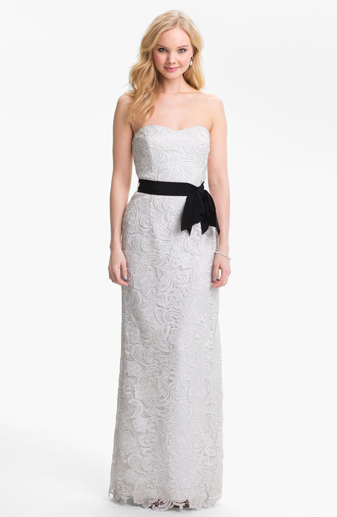 Alternate Image 1 Selected - Adrianna Papell Strapless Lace Gown
