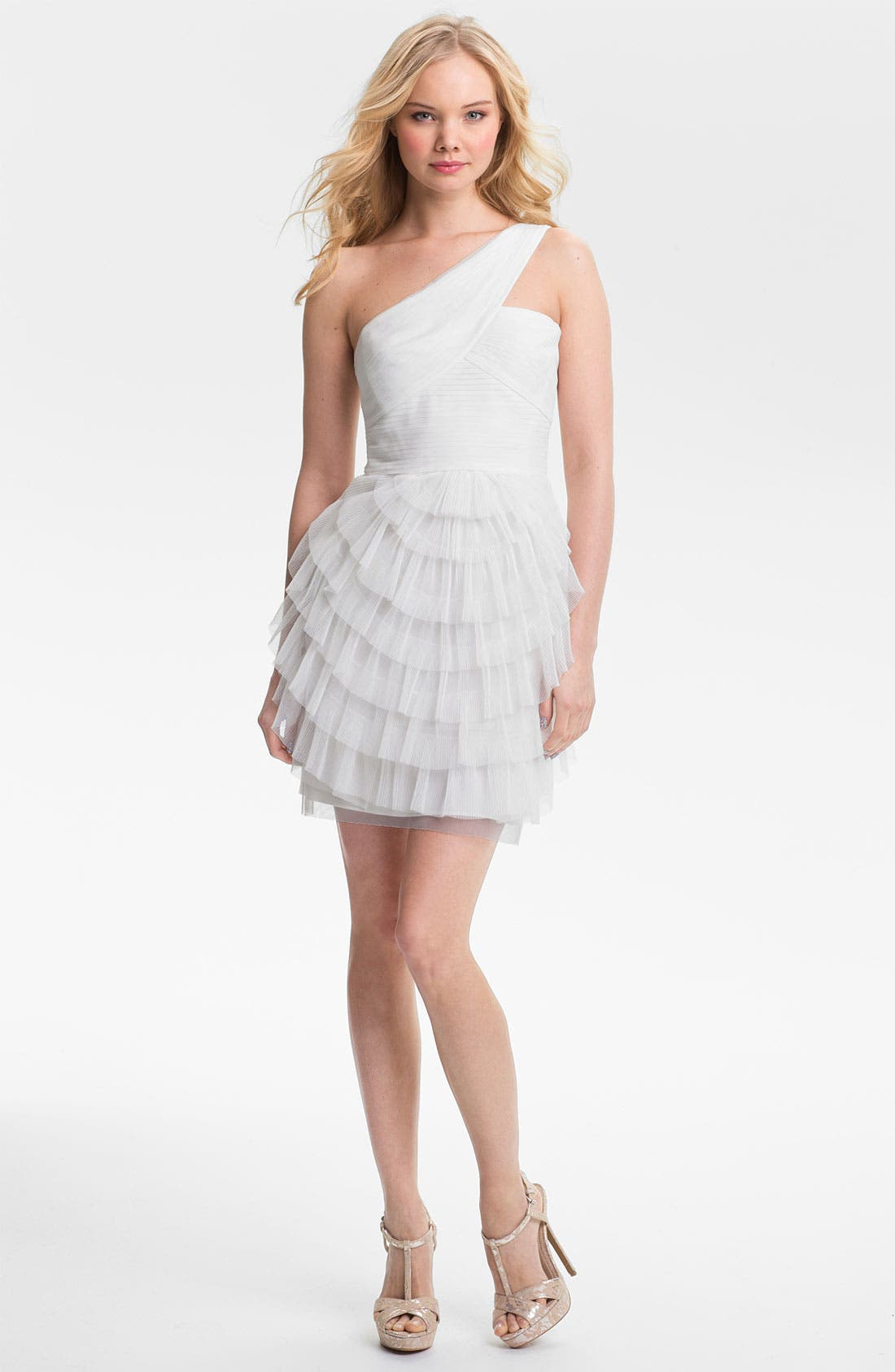 Alternate Image 1 Selected - BCBGMAXAZRIA 'Ella' One Shoulder Tiered Tulle Dress