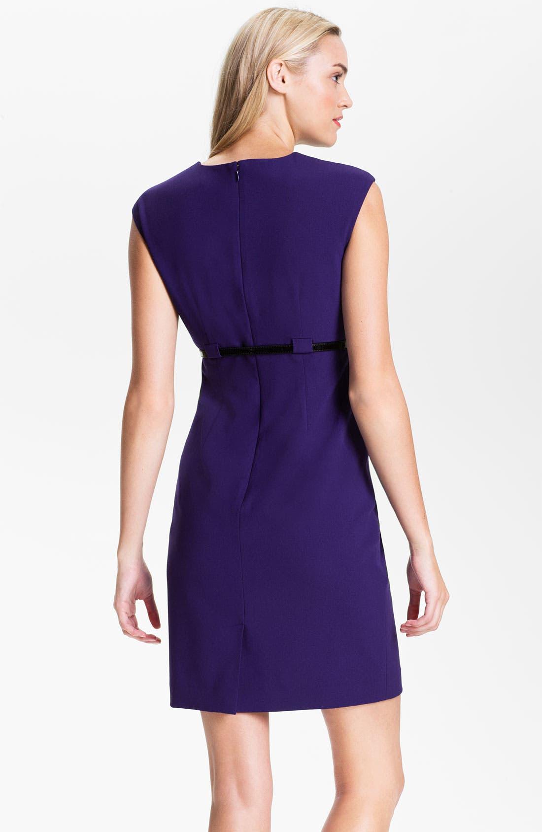 Alternate Image 2  - Calvin Klein Twist Neck Belted Sheath Dress (Petite)