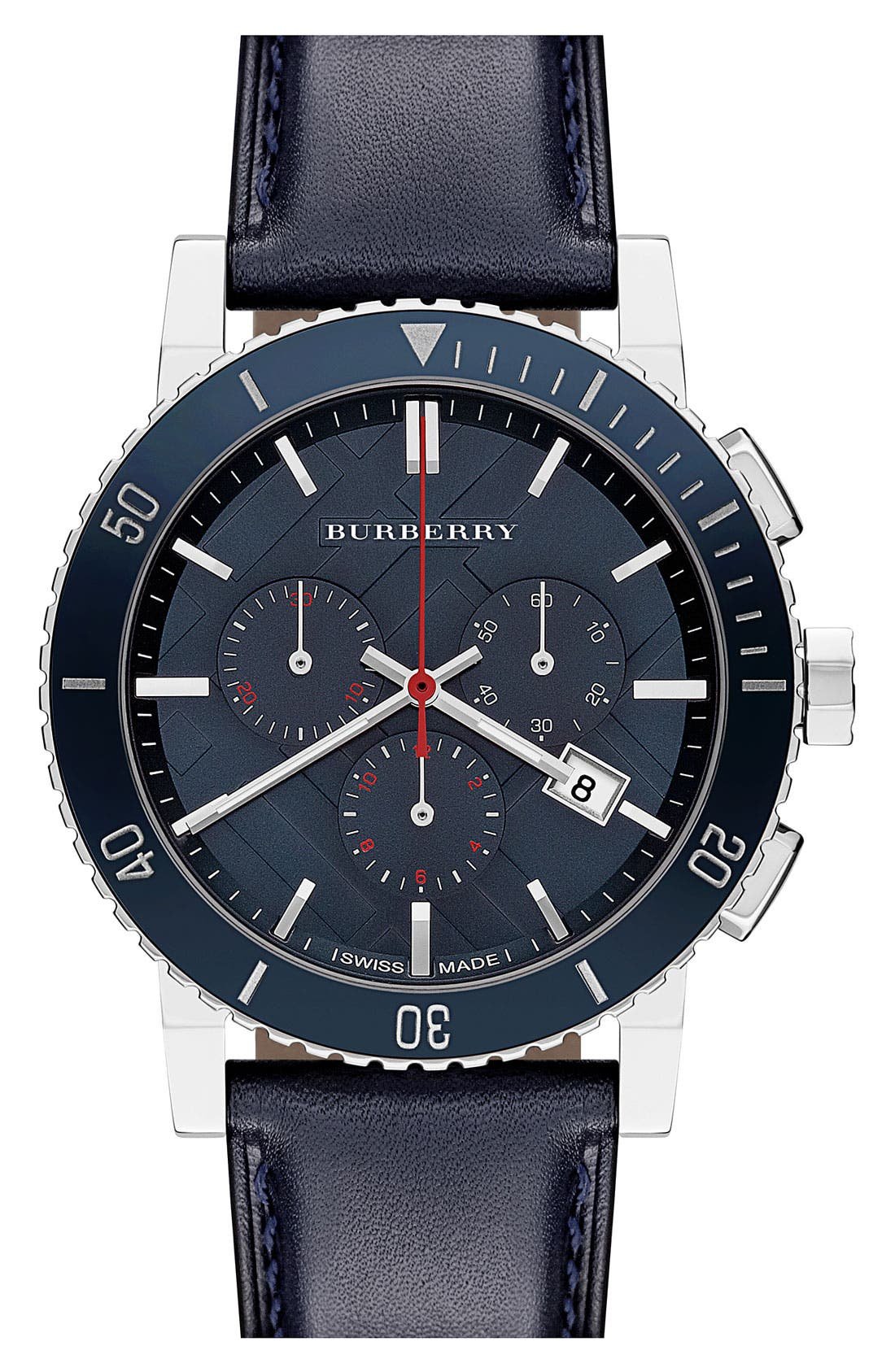 Main Image - Burberry Check Stamped Chronograph Watch
