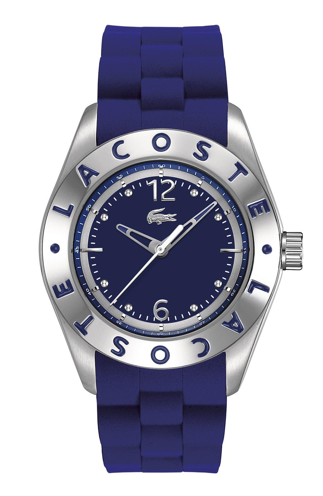 Main Image - Lacoste 'Biarritz' Logo Bezel Silicone Strap Watch, 38mm