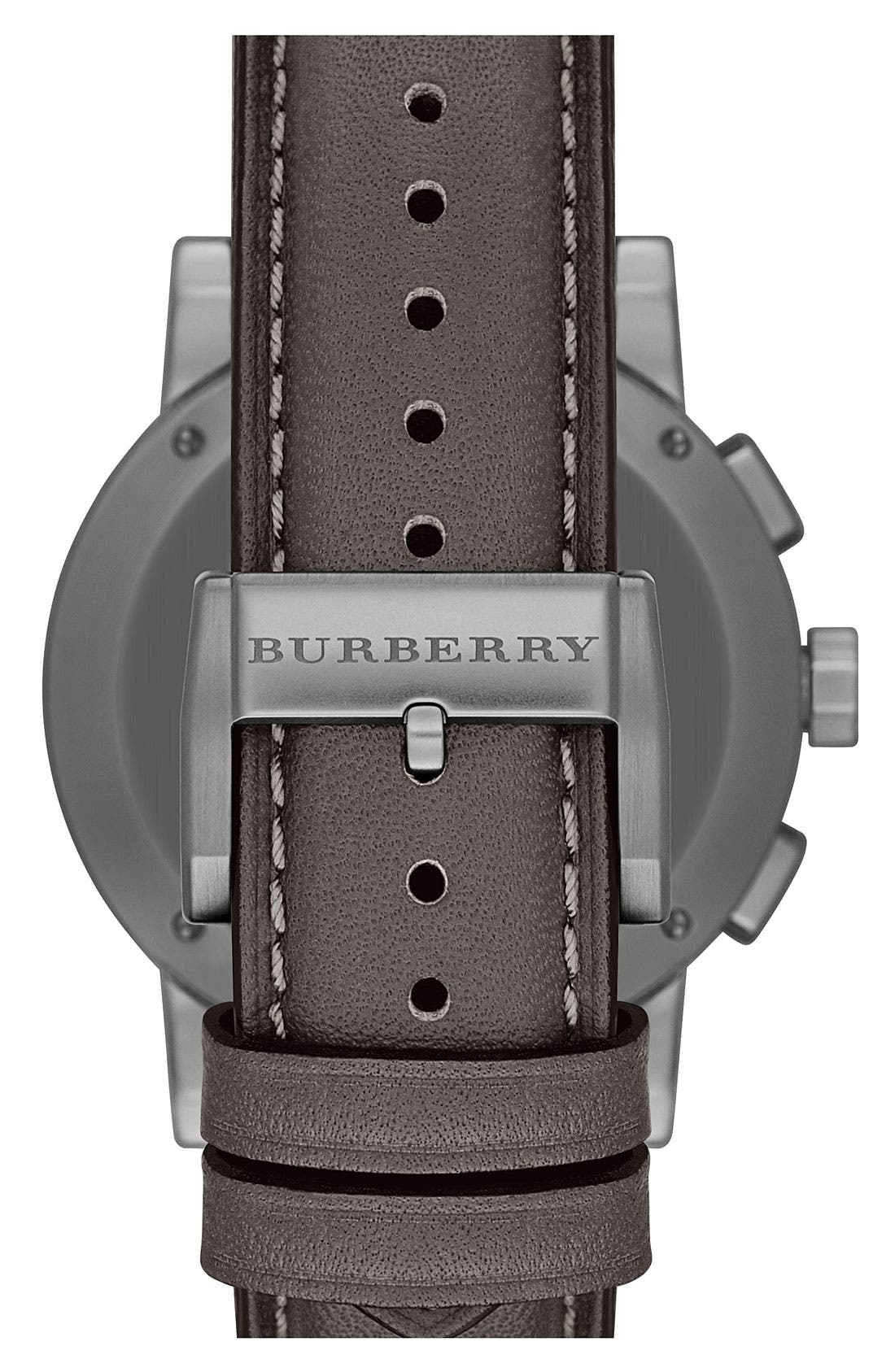 Alternate Image 3  - Burberry Check Stamped Chronograph Watch