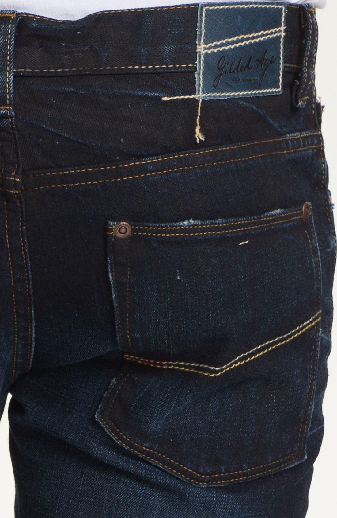 Alternate Image 4  - Gilded Age 'Gotham' Slim Straight Leg Jeans (Dark Wash)