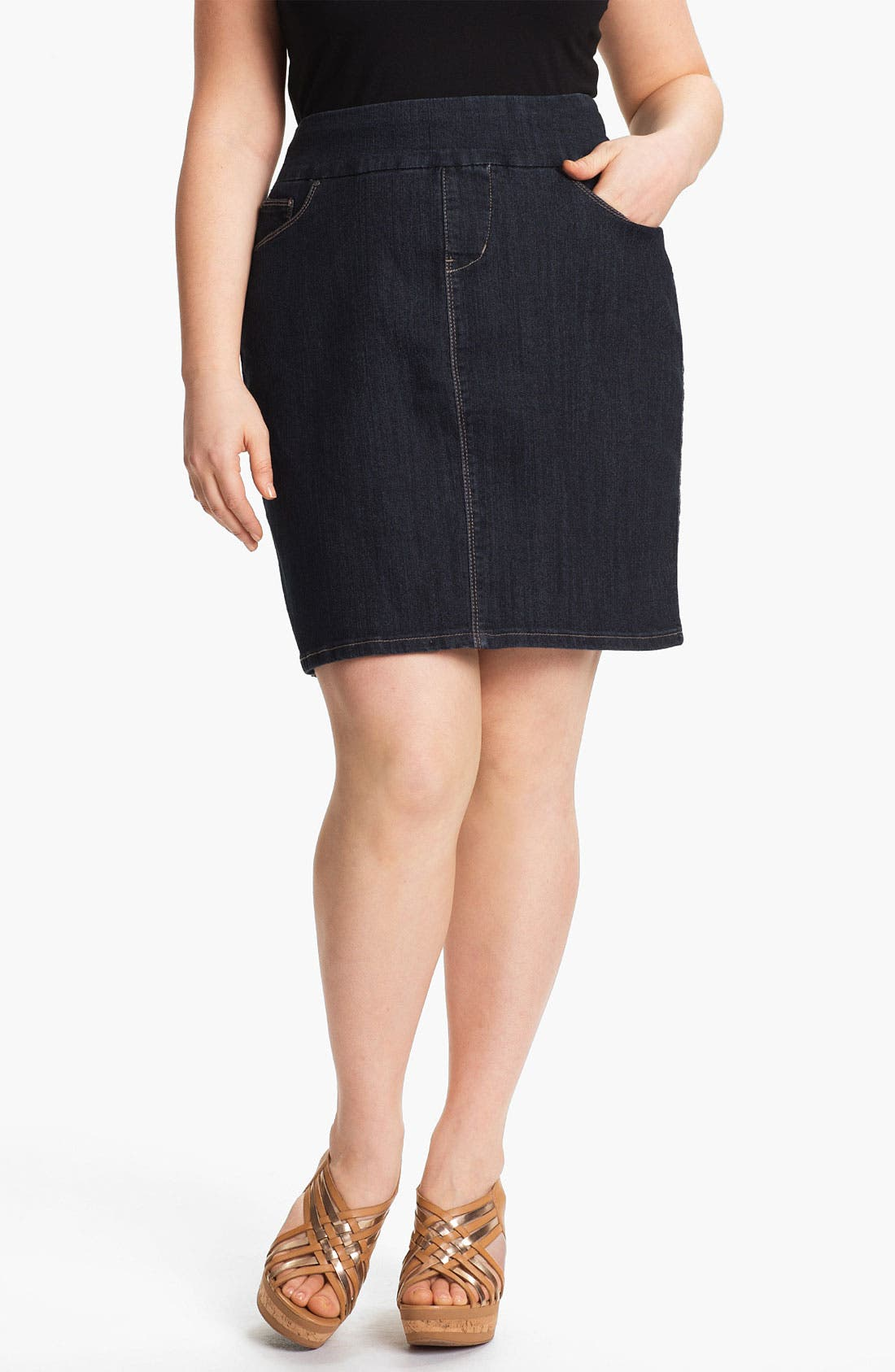 Main Image - Jag Jeans 'Maddock' Denim Skirt (Plus Size) (Online Only)