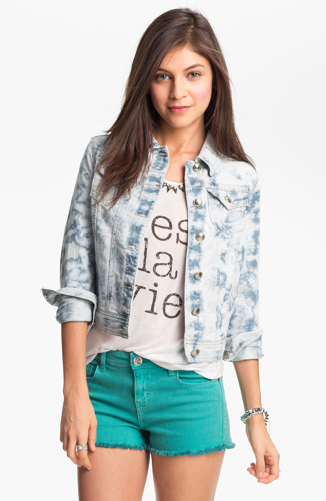 Main Image - Jou Jou Acid Wash Denim Jacket (Juniors)