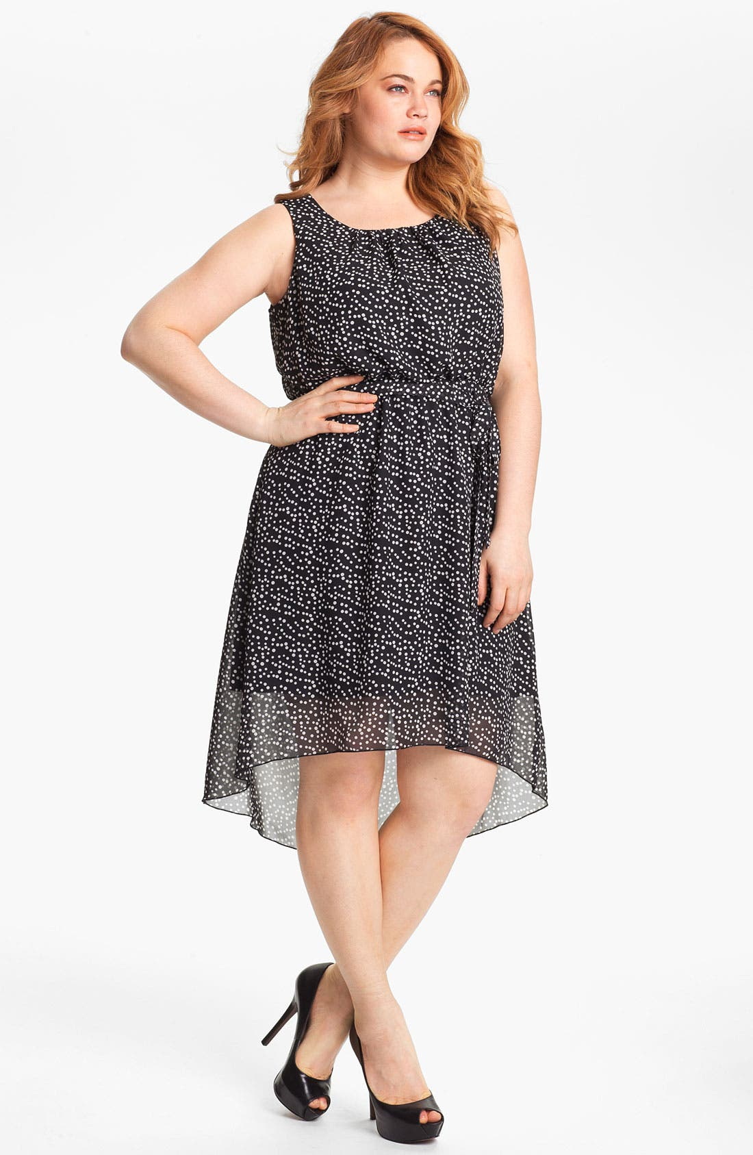 Alternate Image 1 Selected - Evans Polka Dot High/Low Chiffon Dress (Plus Size)