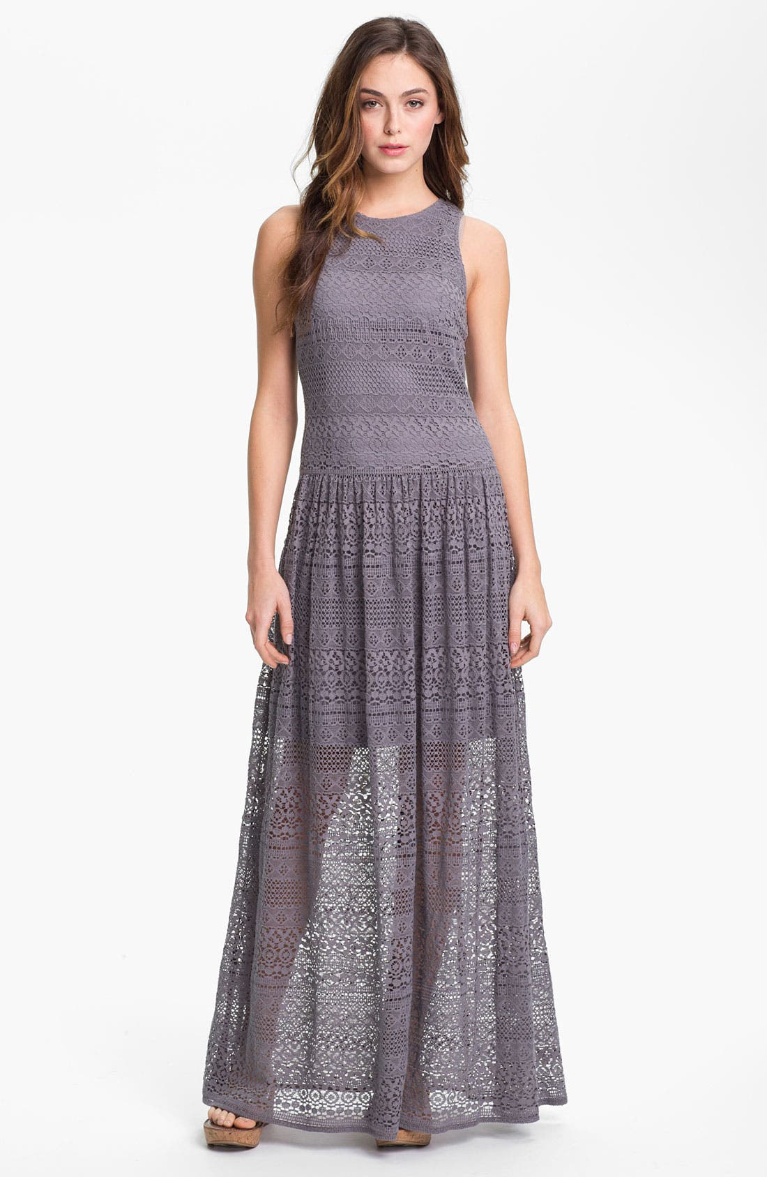 Alternate Image 1 Selected - Suzi Chin for Maggy Boutique Crochet Maxi Dress