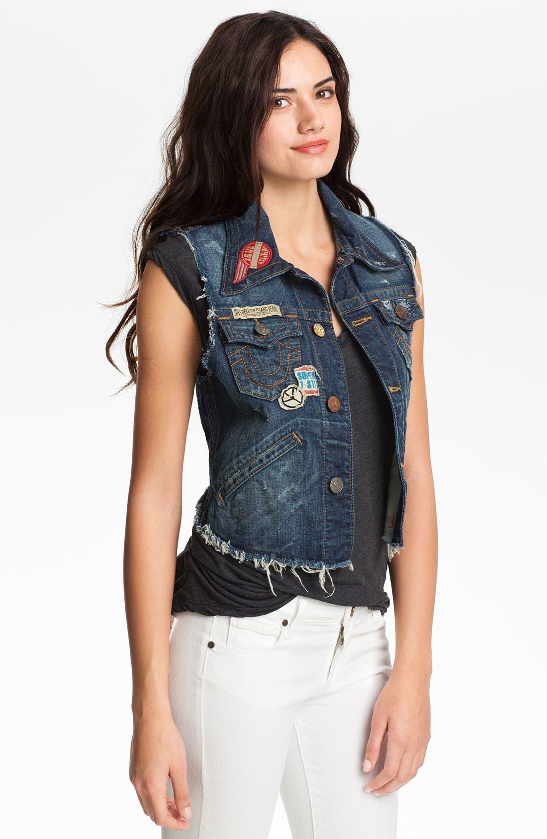 Alternate Image 1 Selected - True Religion Brand Jeans 'Jada' Cutoff Denim Vest