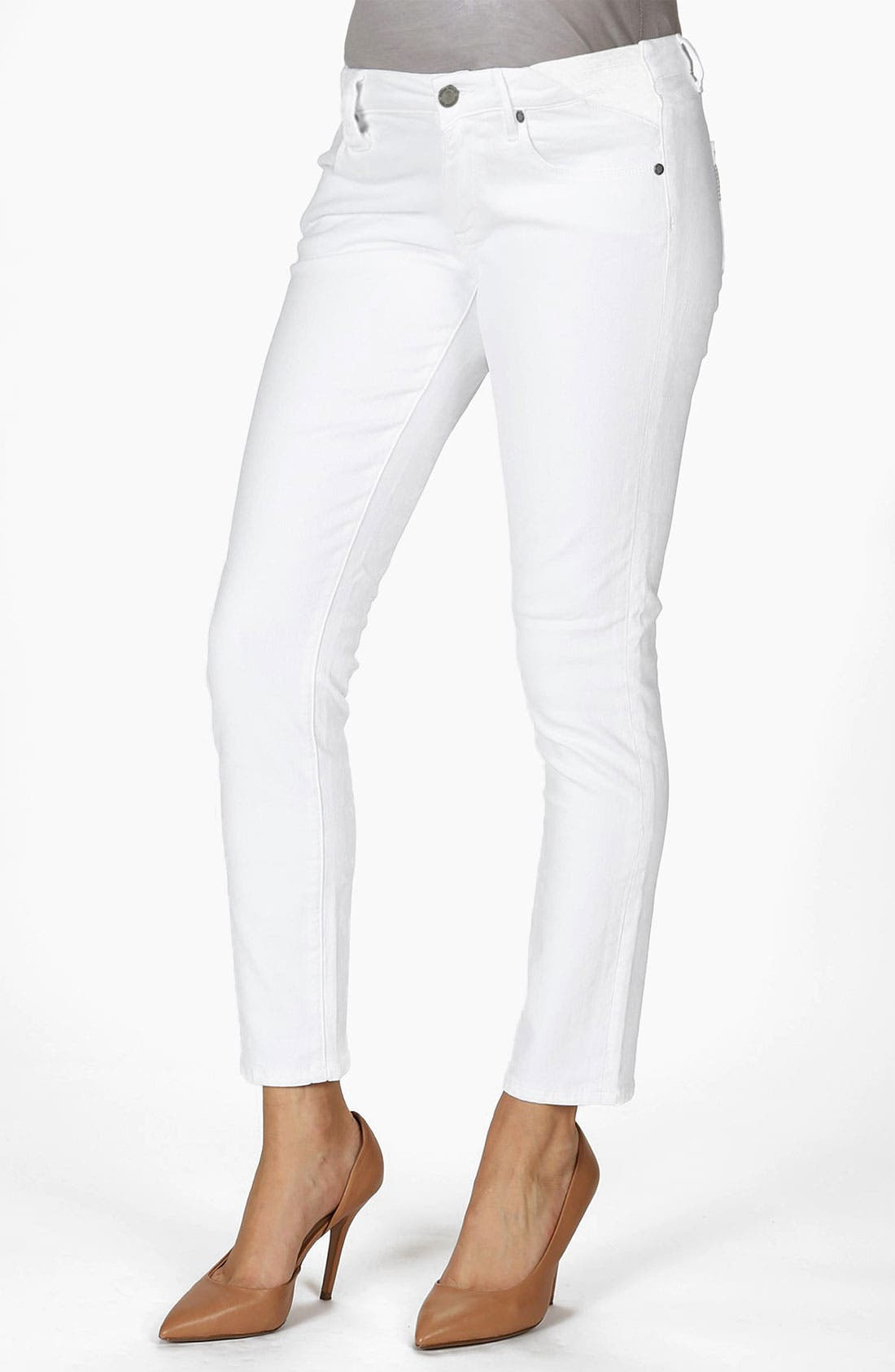 Alternate Image 1 Selected - Paige Denim 'Skyline' Maternity Ankle Skinny Stretch Jeans (Optic White)