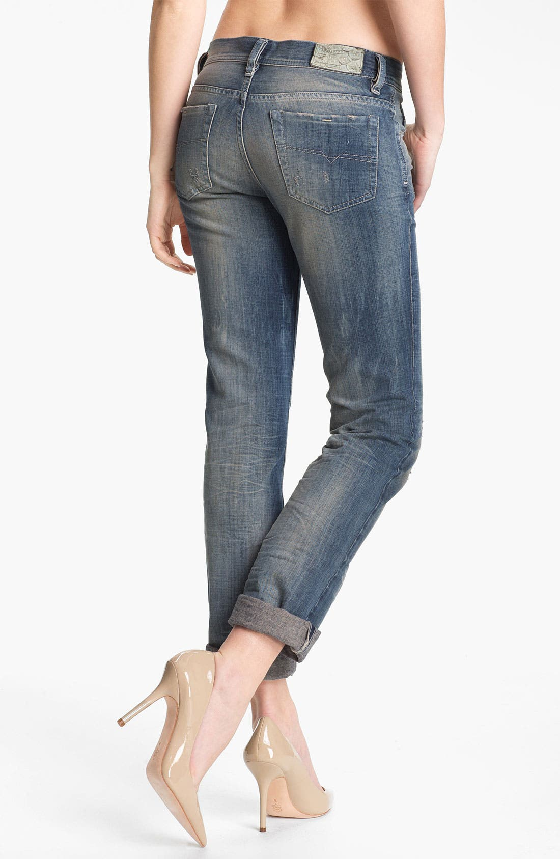 Alternate Image 1 Selected - DIESEL® 'Faithlegg' Distressed Denim Boyfriend Jeans (Denim Distressed)