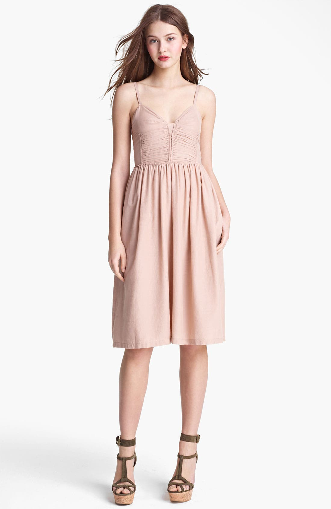Main Image - Burberry Brit Ruched Bodice Silk & Cotton Dress (Online Only)