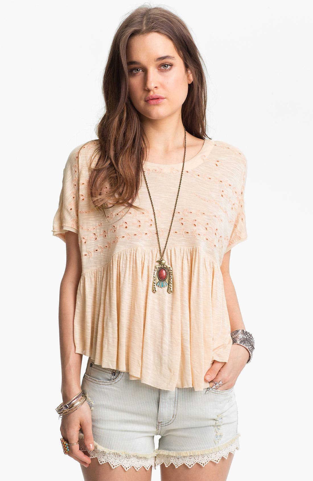 Alternate Image 1 Selected - Free People 'Sweetart' Eyelet Embroidered Top