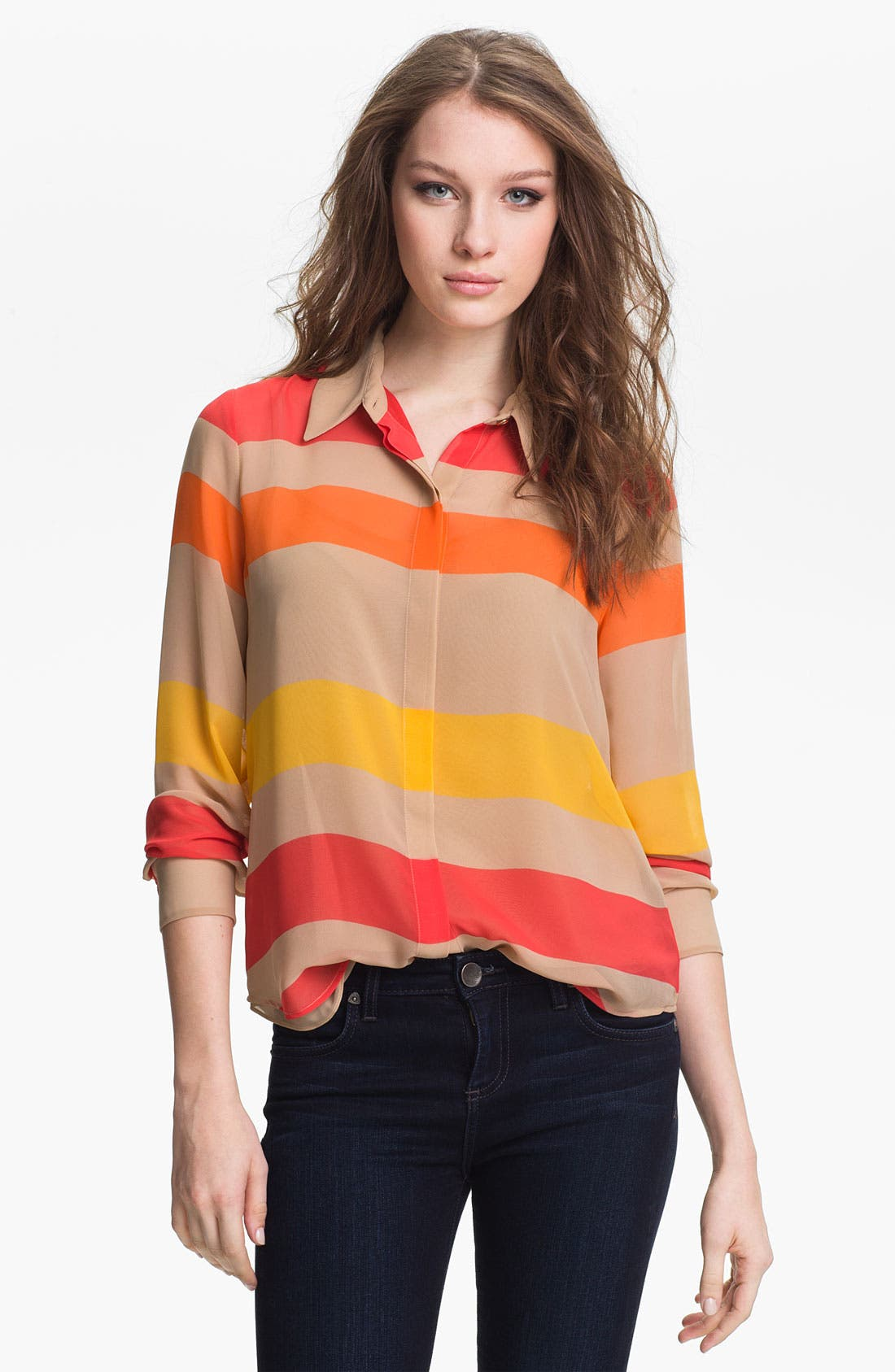 Alternate Image 1 Selected - Vince Camuto Multi Stripe Blouse with Camisole (Petite)