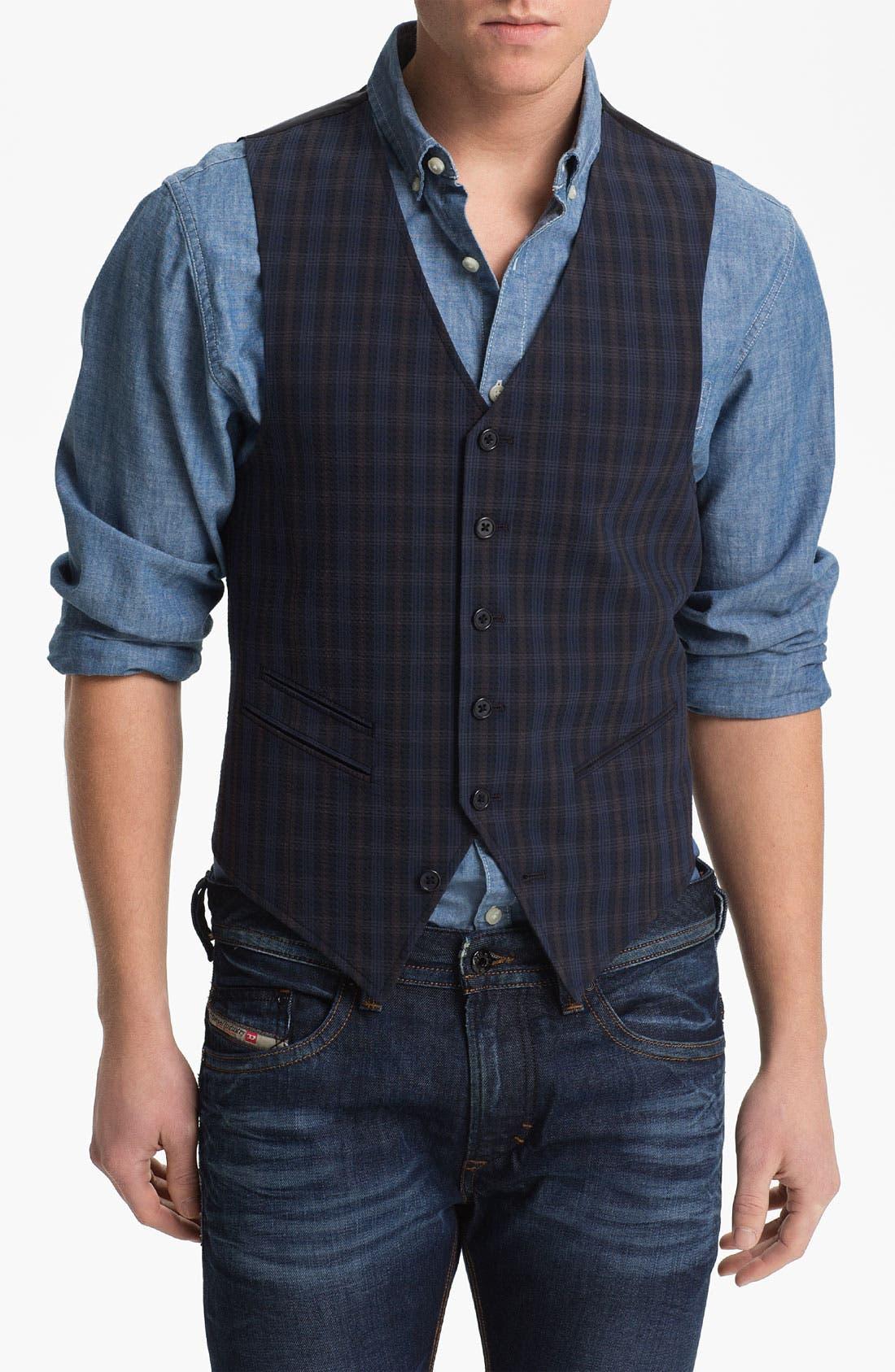 Alternate Image 1 Selected - John Varvatos Star USA Red Label Plaid Vest