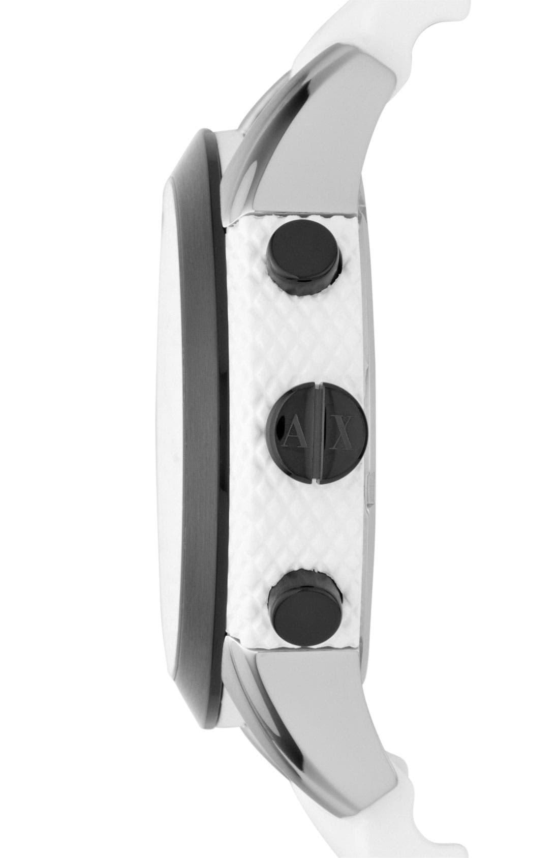 Alternate Image 3  - AX Armani Exchange Round Silicone Strap Watch, 47mm