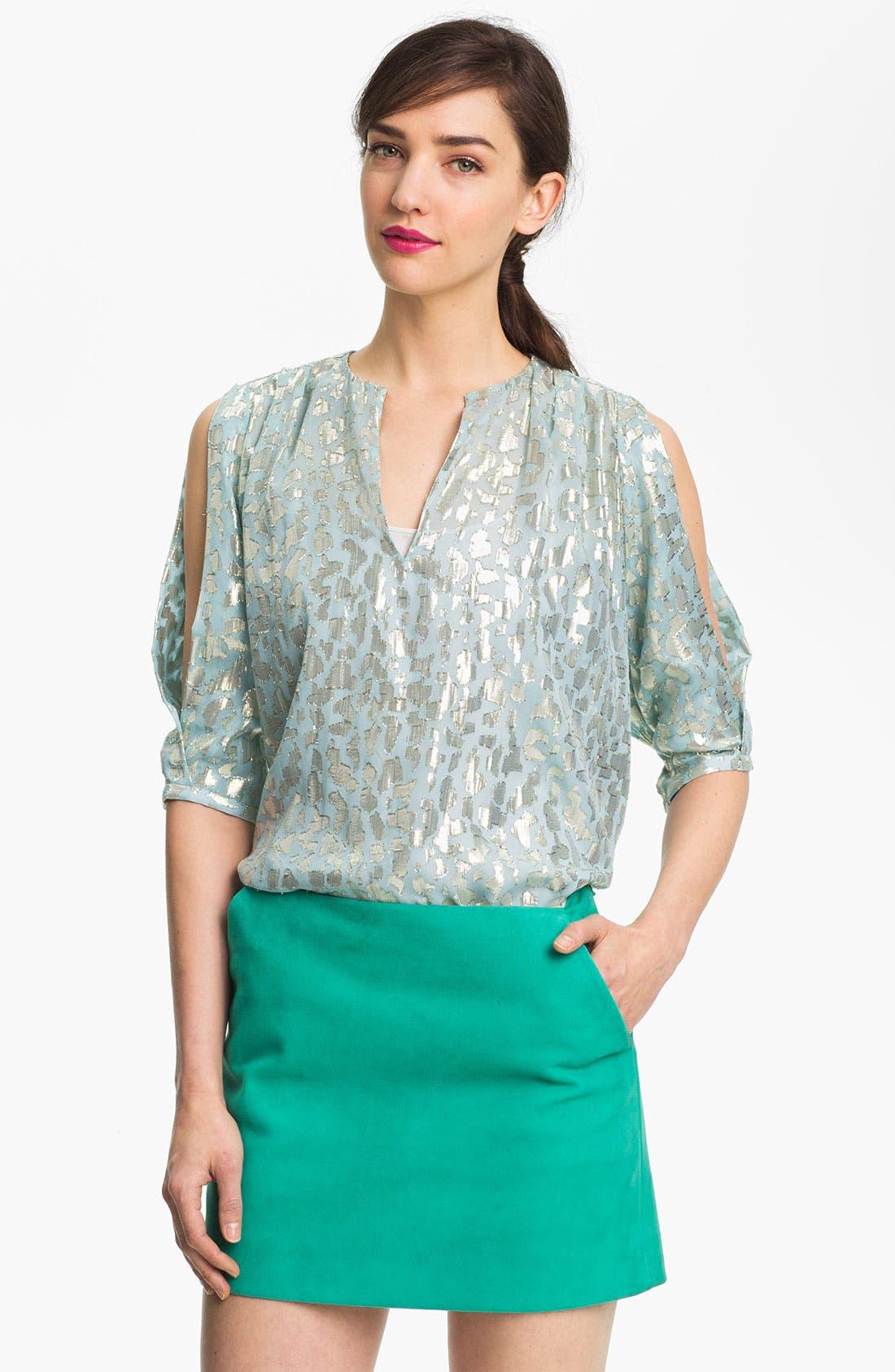 Alternate Image 1 Selected - Diane von Furstenberg 'Astor' Cold Shoulder Silk Top